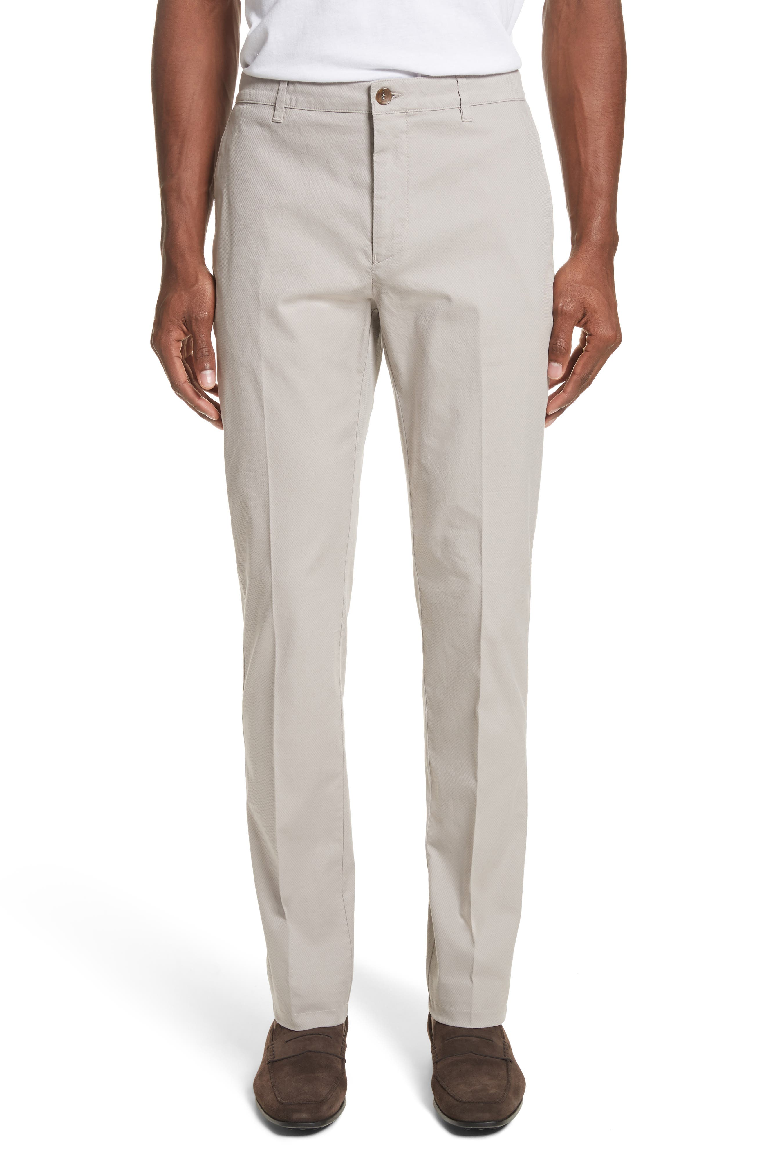 Flat Front Stretch Solid Cotton Trousers,                             Main thumbnail 1, color,                             Stone