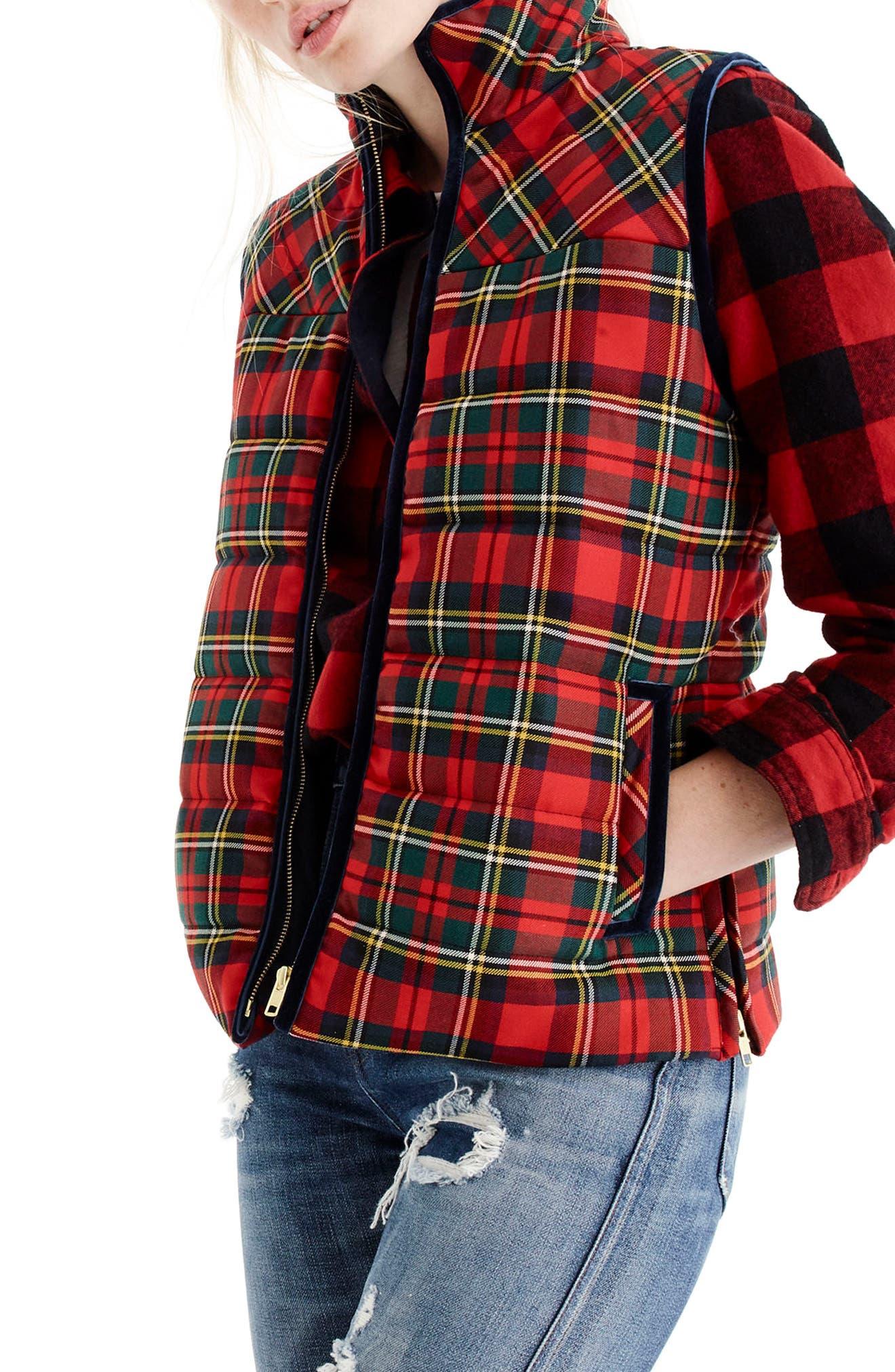 J.Crew Tartan Mountain Puffer Vest (Regular & Petite)