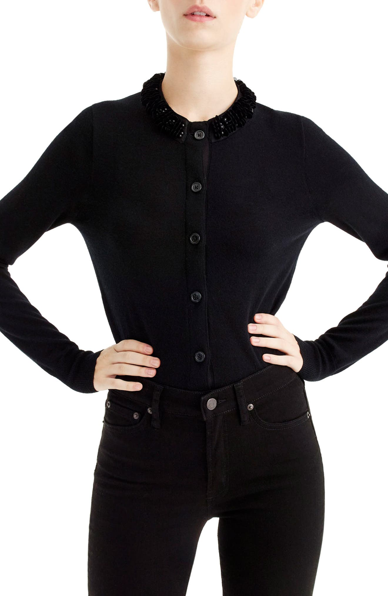J.Crew Embellished Jackie Cardigan,                             Main thumbnail 1, color,                             Black