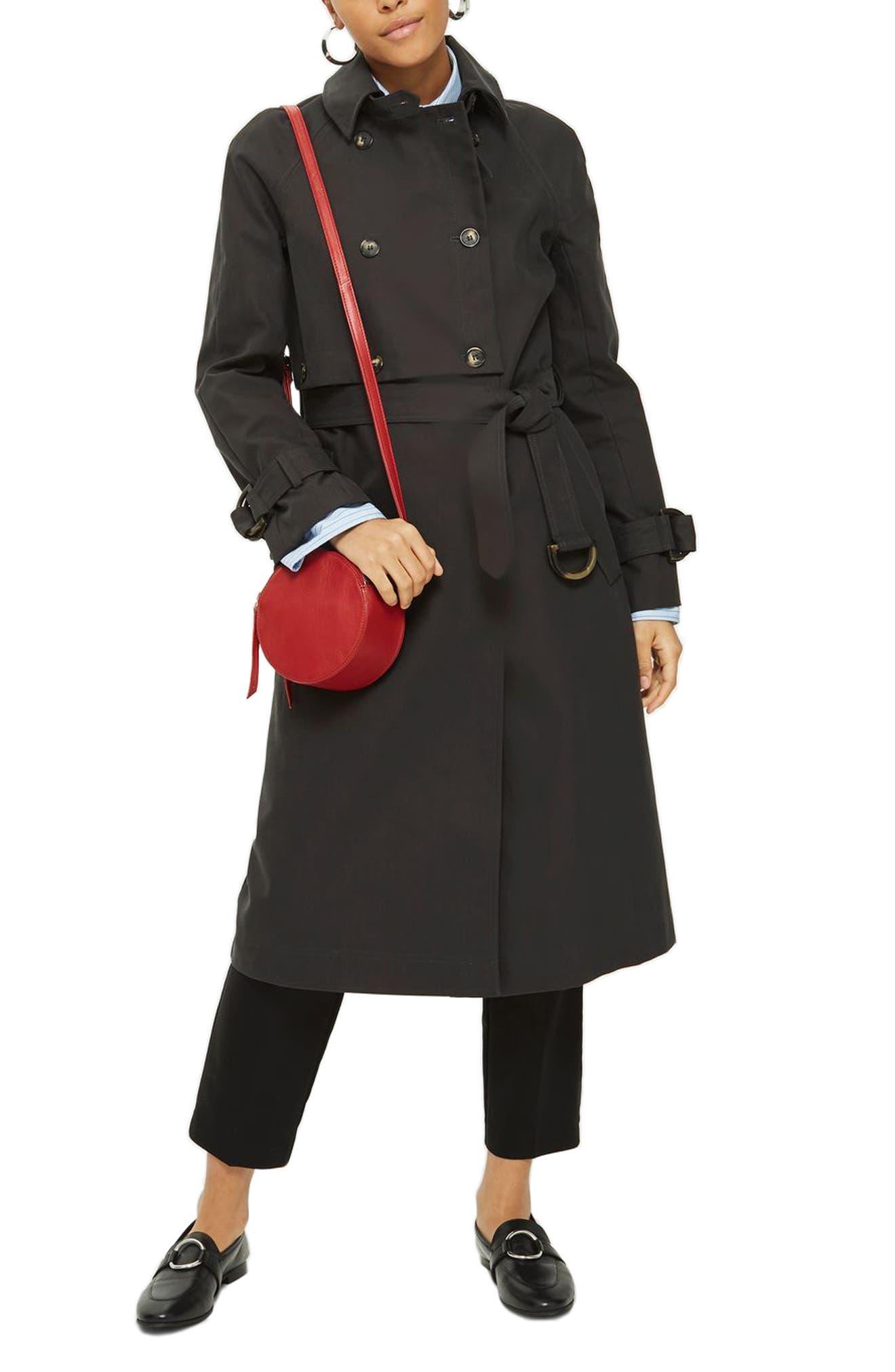 Cotton Trench Coat,                         Main,                         color, Black