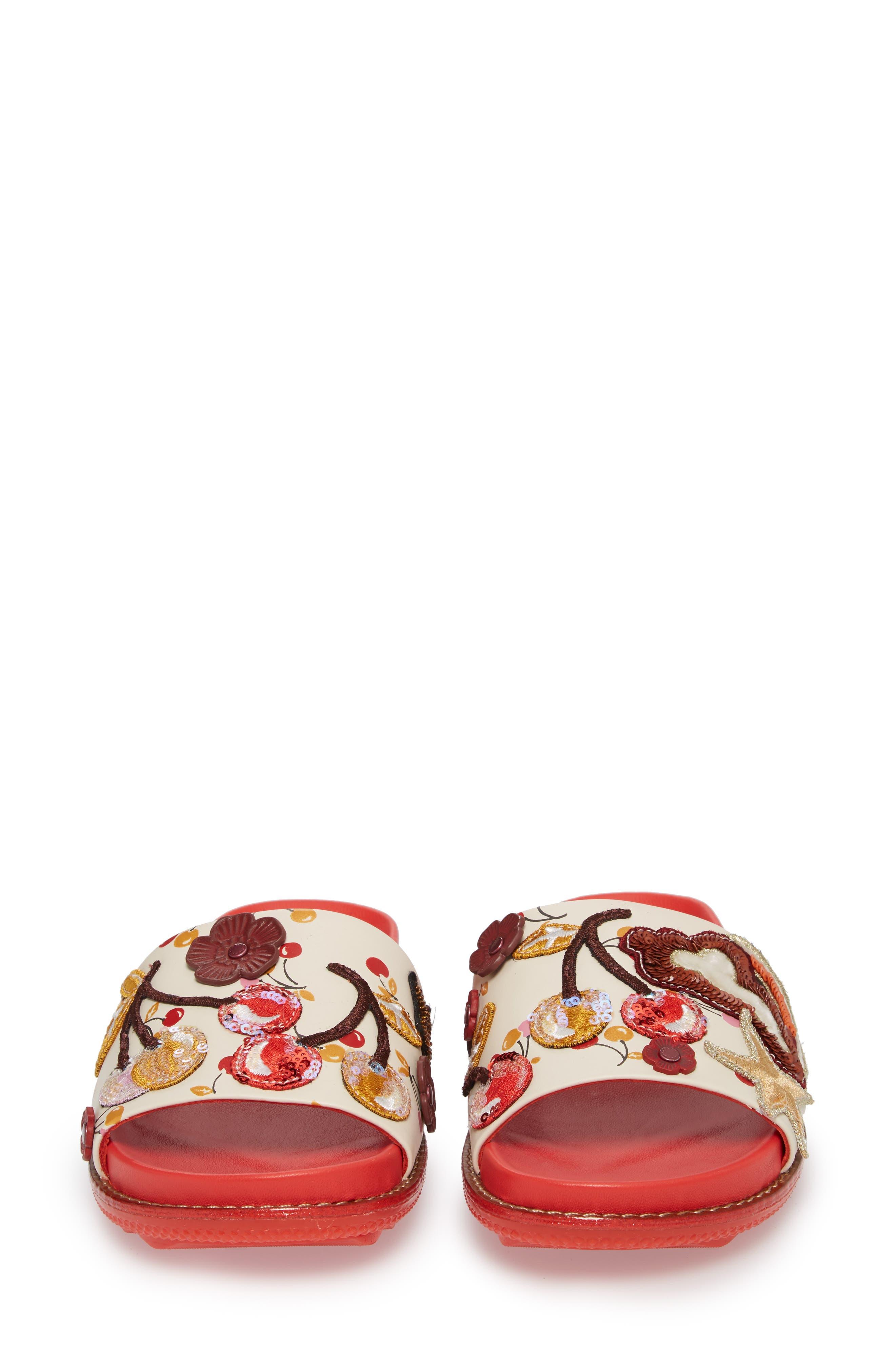 Patch Sport Slide Sandal,                             Alternate thumbnail 4, color,                             Ivory/ Red Leather