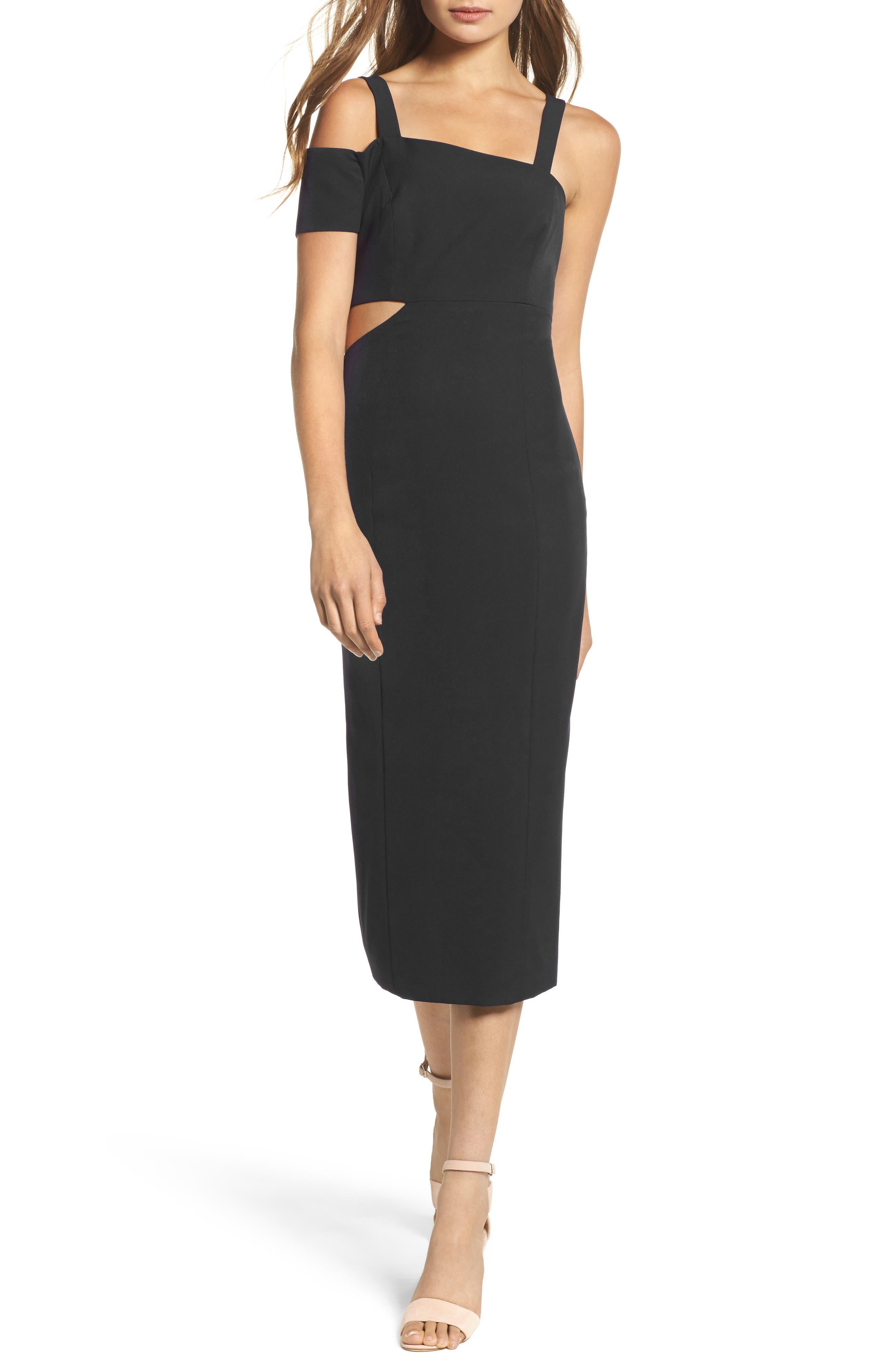 Marquette Cutout Sheath Dress,                         Main,                         color, Black