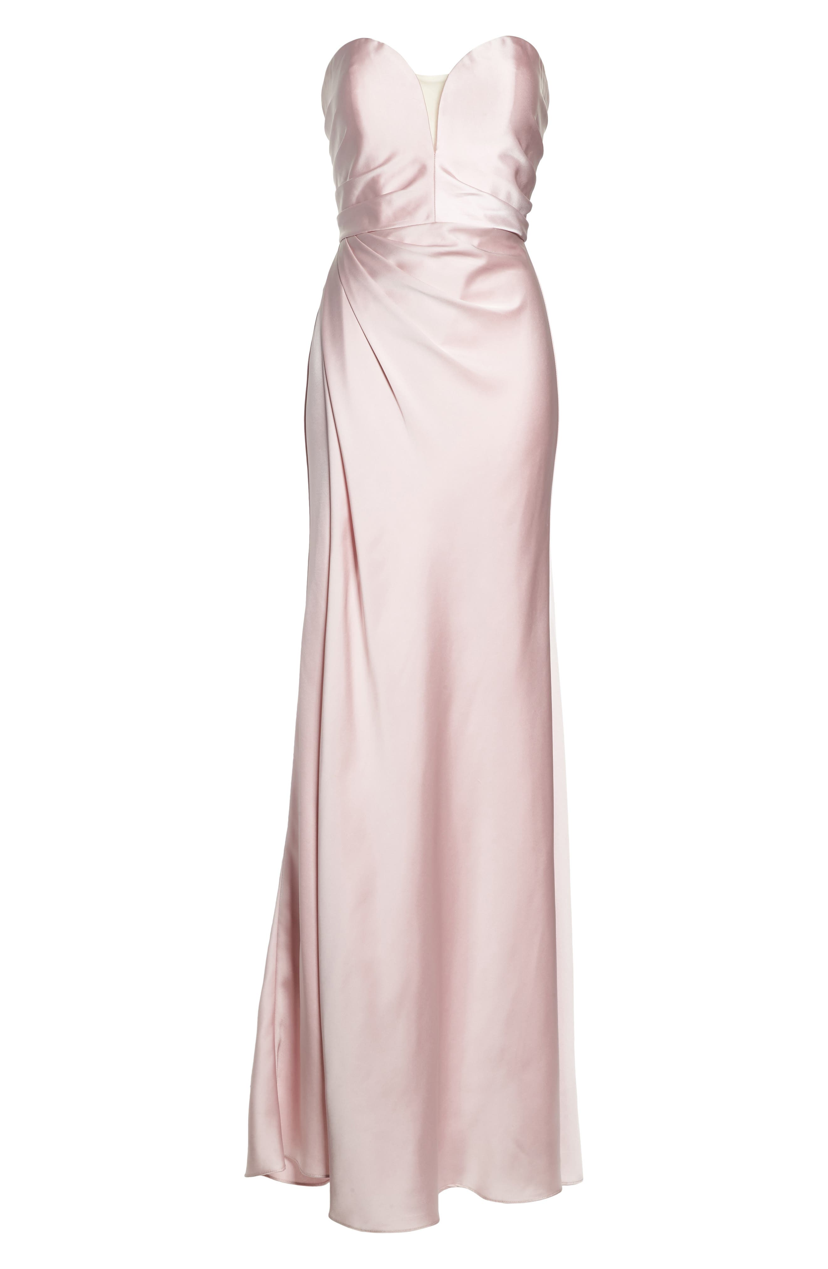 Gathered Strapless Satin Gown,                             Alternate thumbnail 6, color,                             Blush