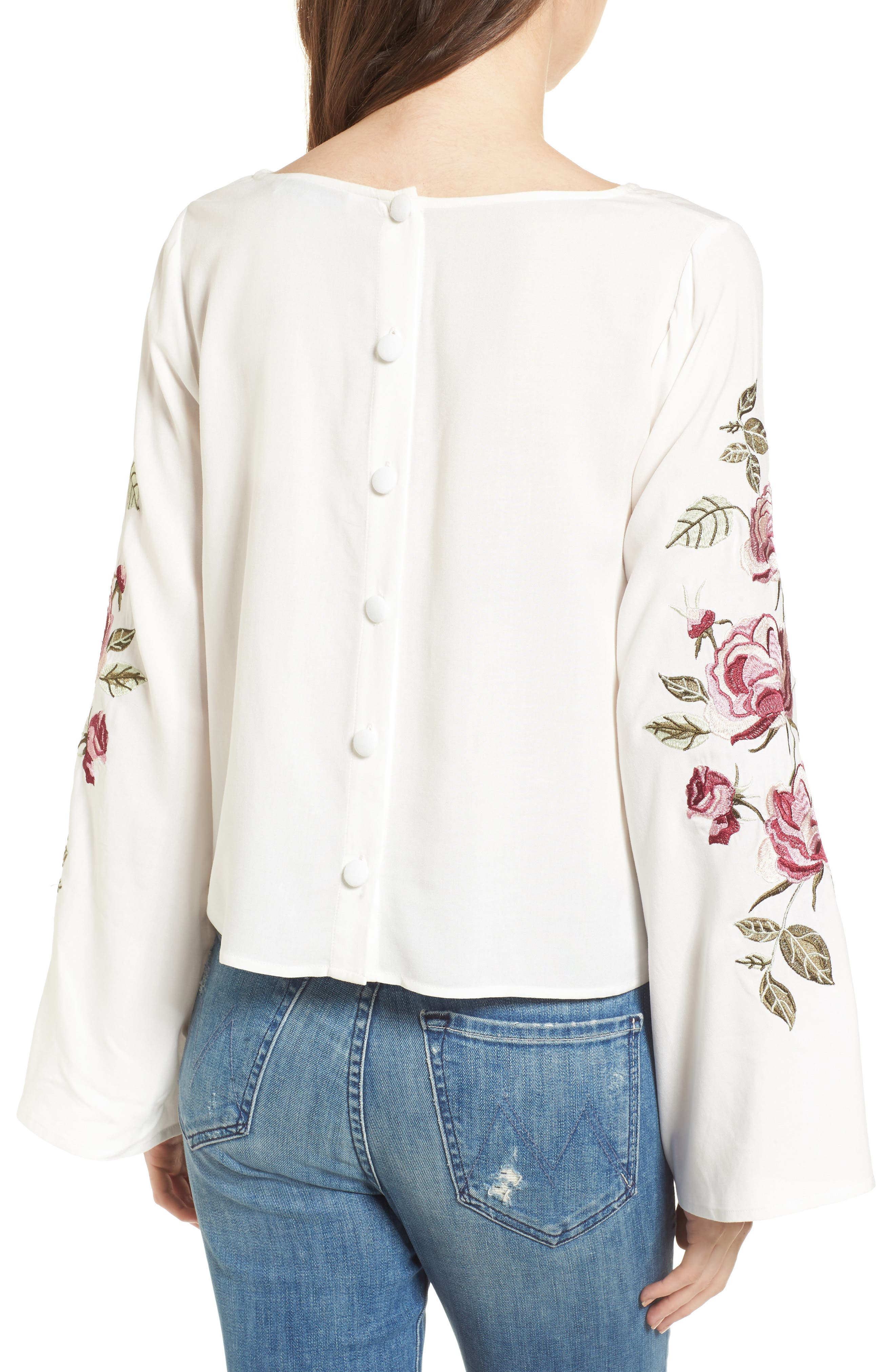 Aldona Embroidered Bell Sleeve Top,                             Alternate thumbnail 2, color,                             Ivory