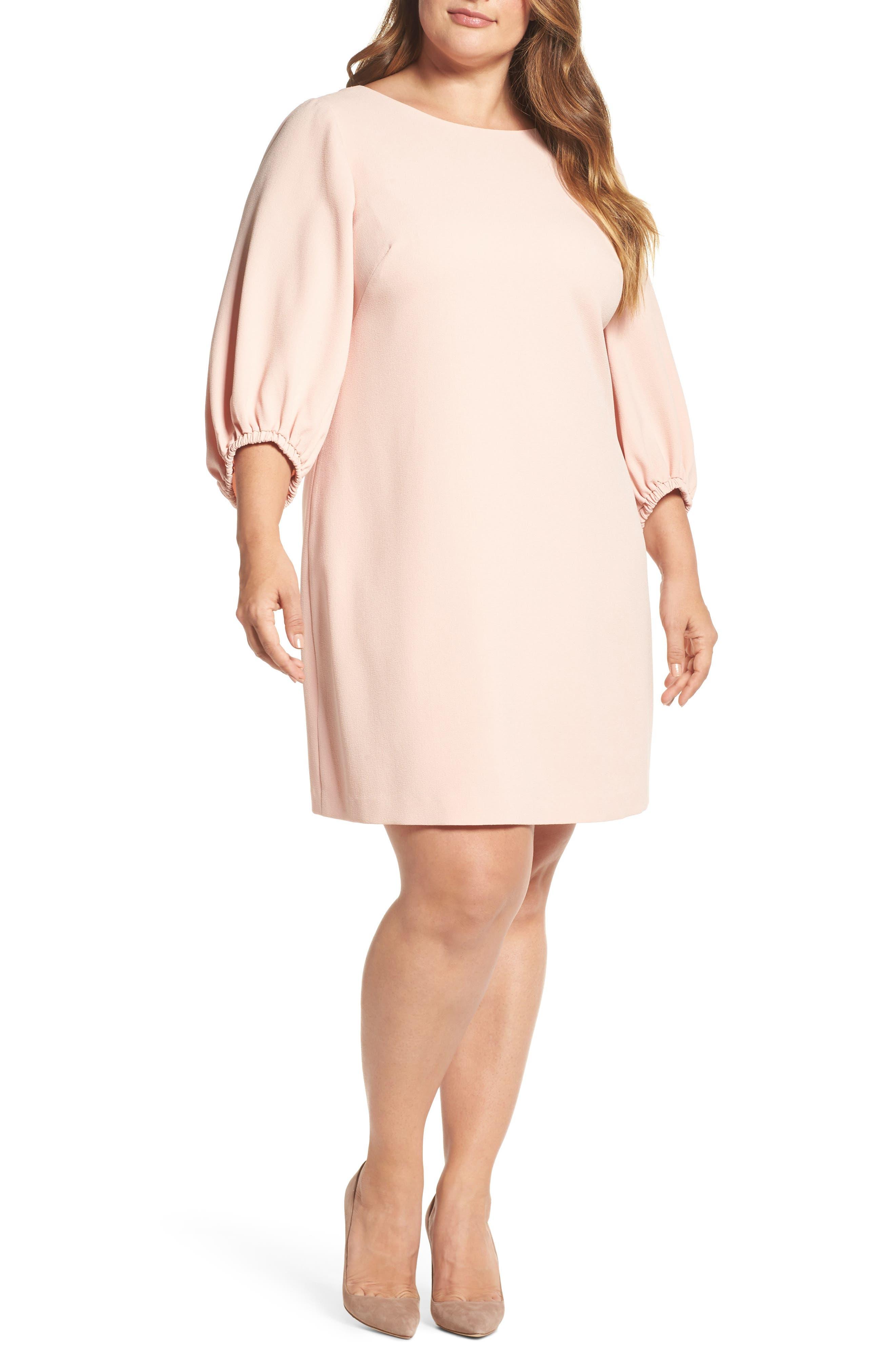 Balloon Sleeve Shift Dress,                         Main,                         color, Blush