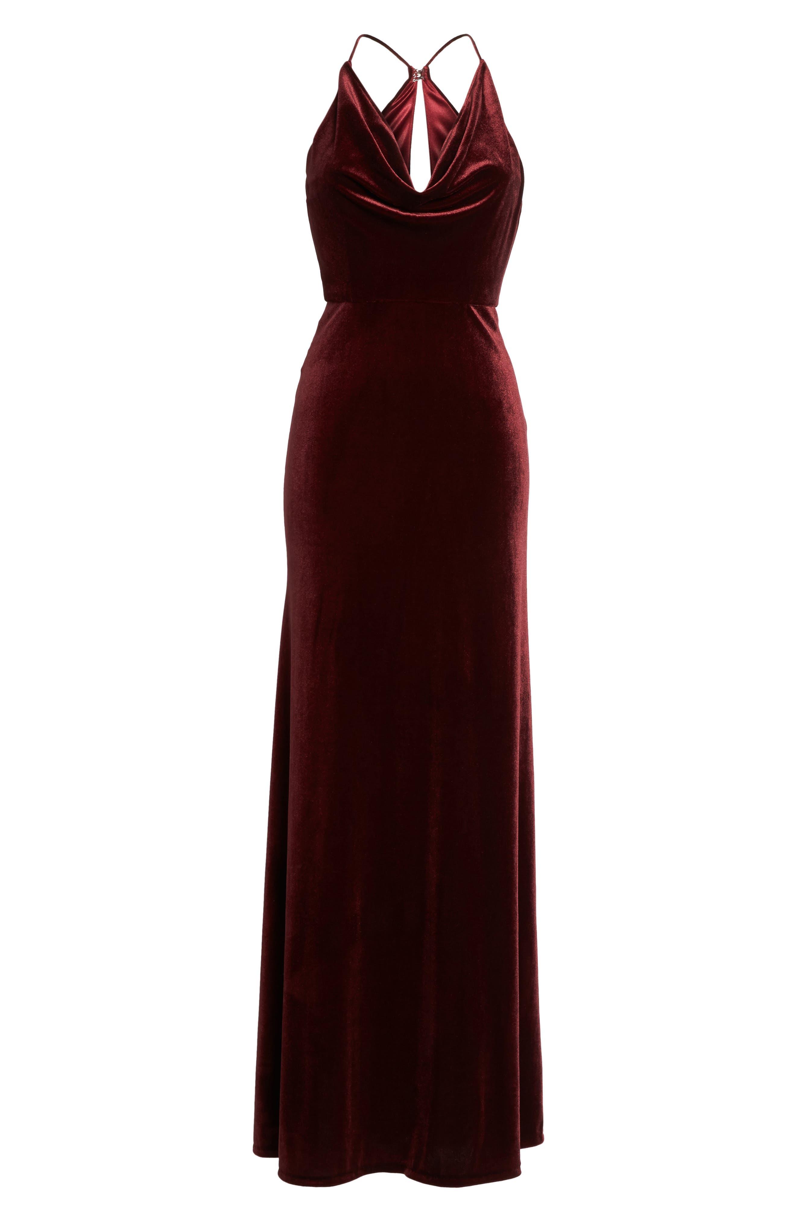 Sullivan Velvet Cowl Neck Gown,                             Alternate thumbnail 6, color,                             Dark Berry