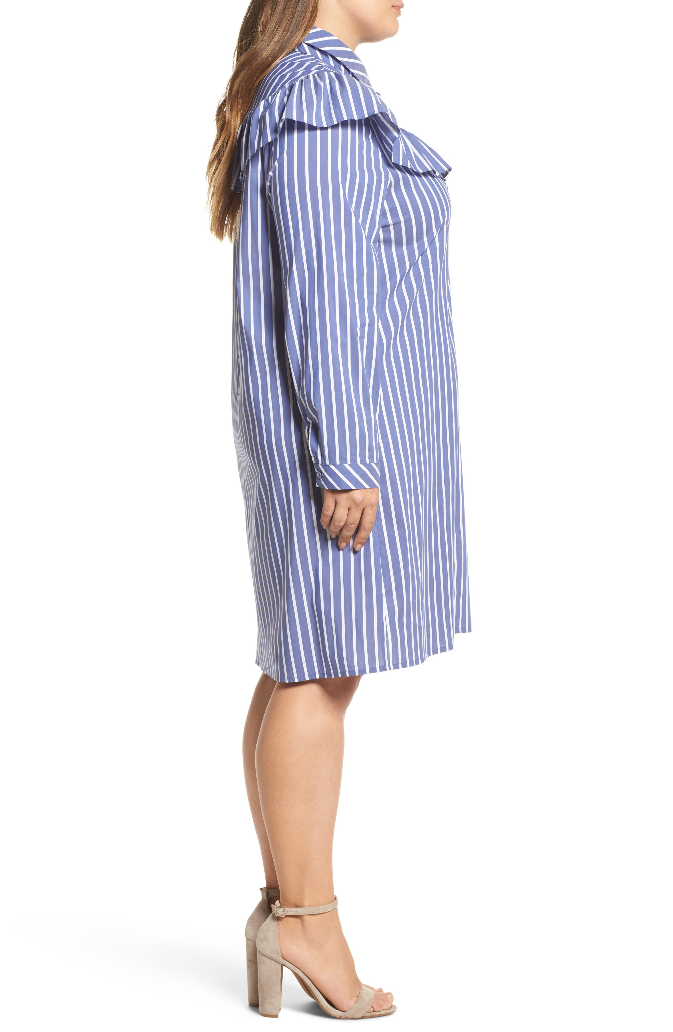 Ruffle Stripe Shirtdress,                             Alternate thumbnail 3, color,                             Blue White Stripe