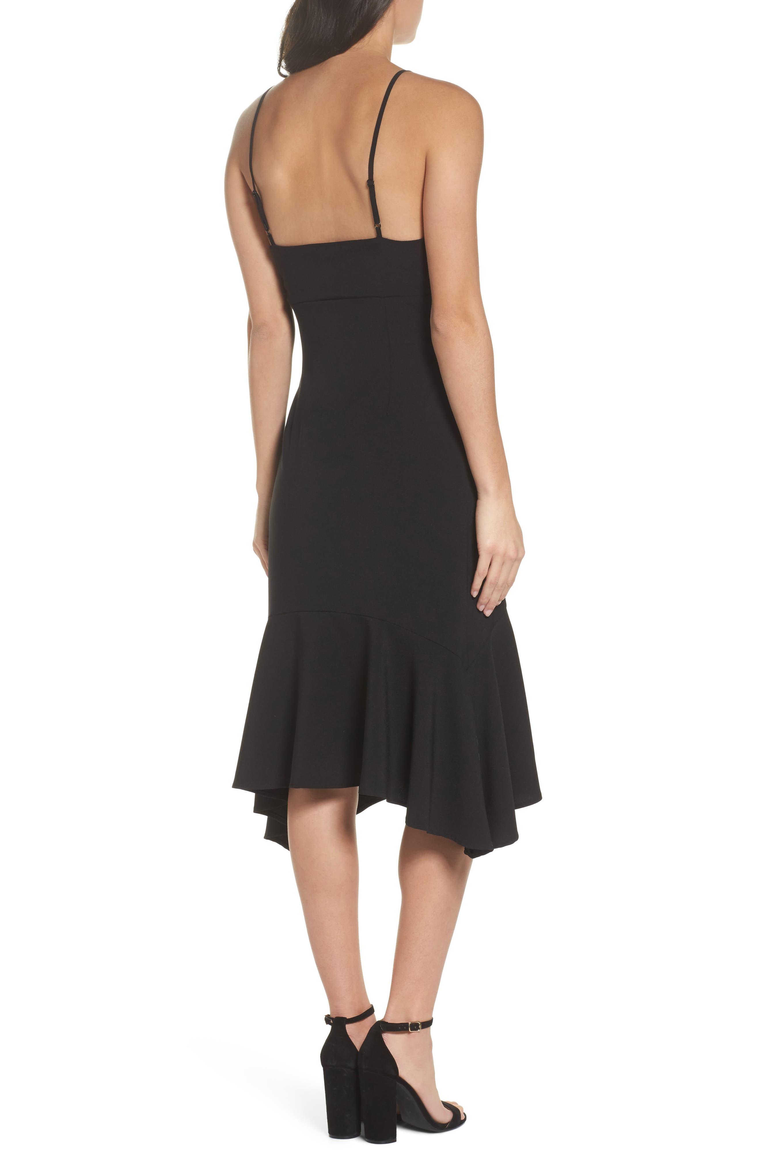 Cutout Midi Dress,                             Alternate thumbnail 2, color,                             Black