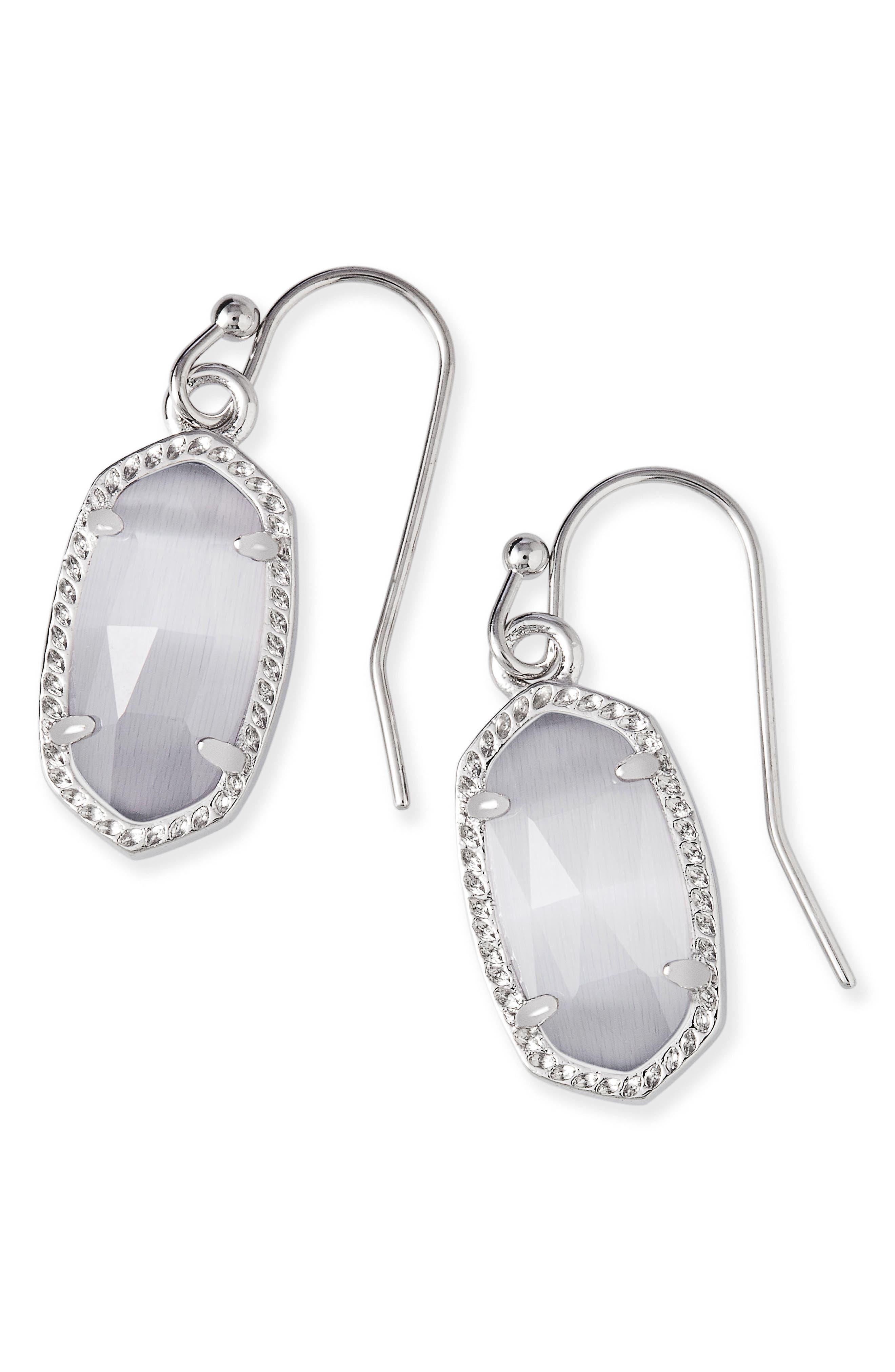 Lee Small Drop Earrings,                         Main,                         color, Slate Cats Eye/ Silver