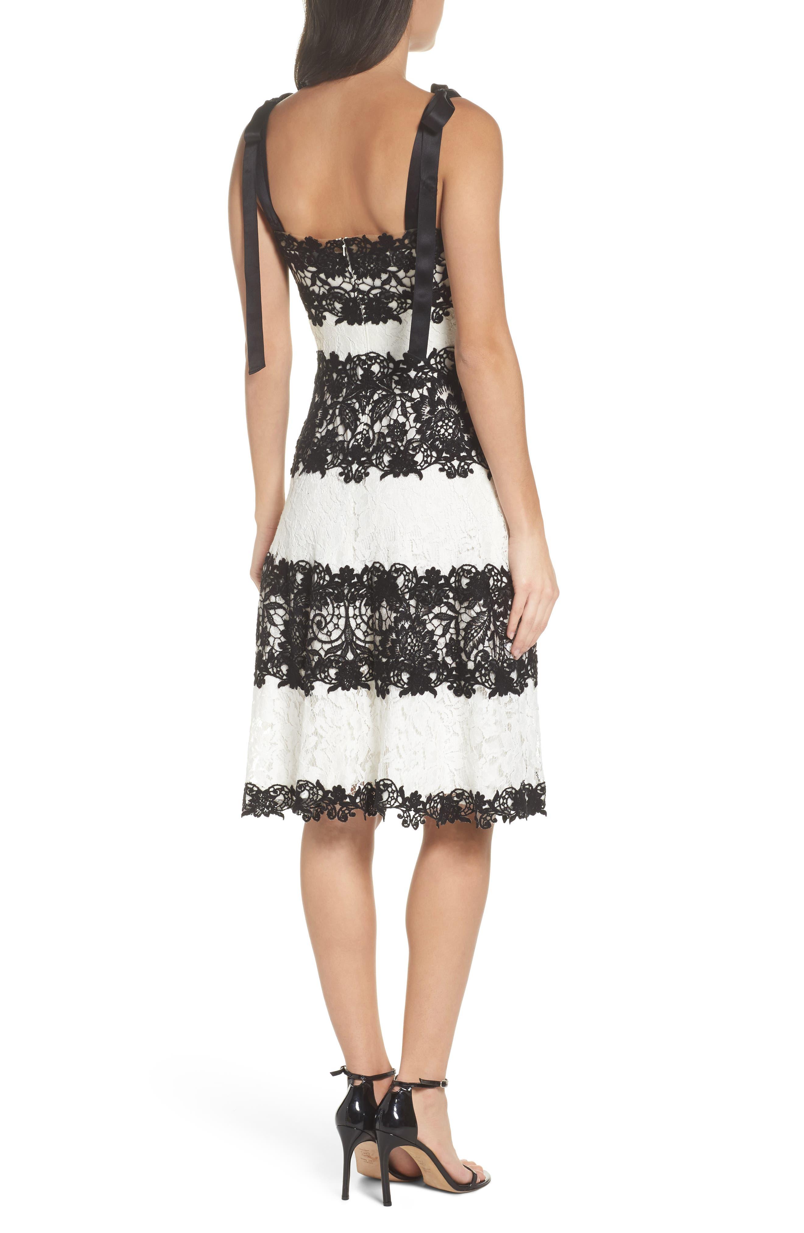 Sleeveless Lace Dress,                             Alternate thumbnail 2, color,                             Black/ Ivory