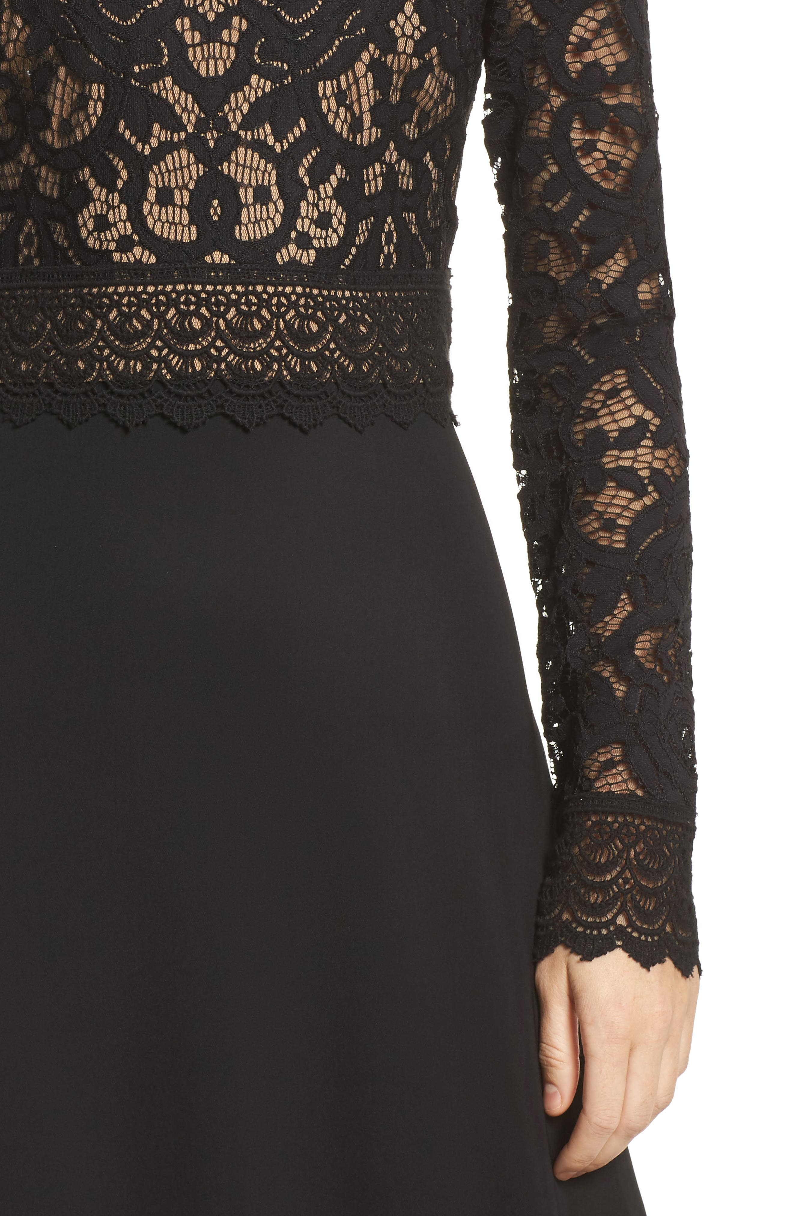 Lace & Crepe Gown,                             Alternate thumbnail 4, color,                             Black/ Nude