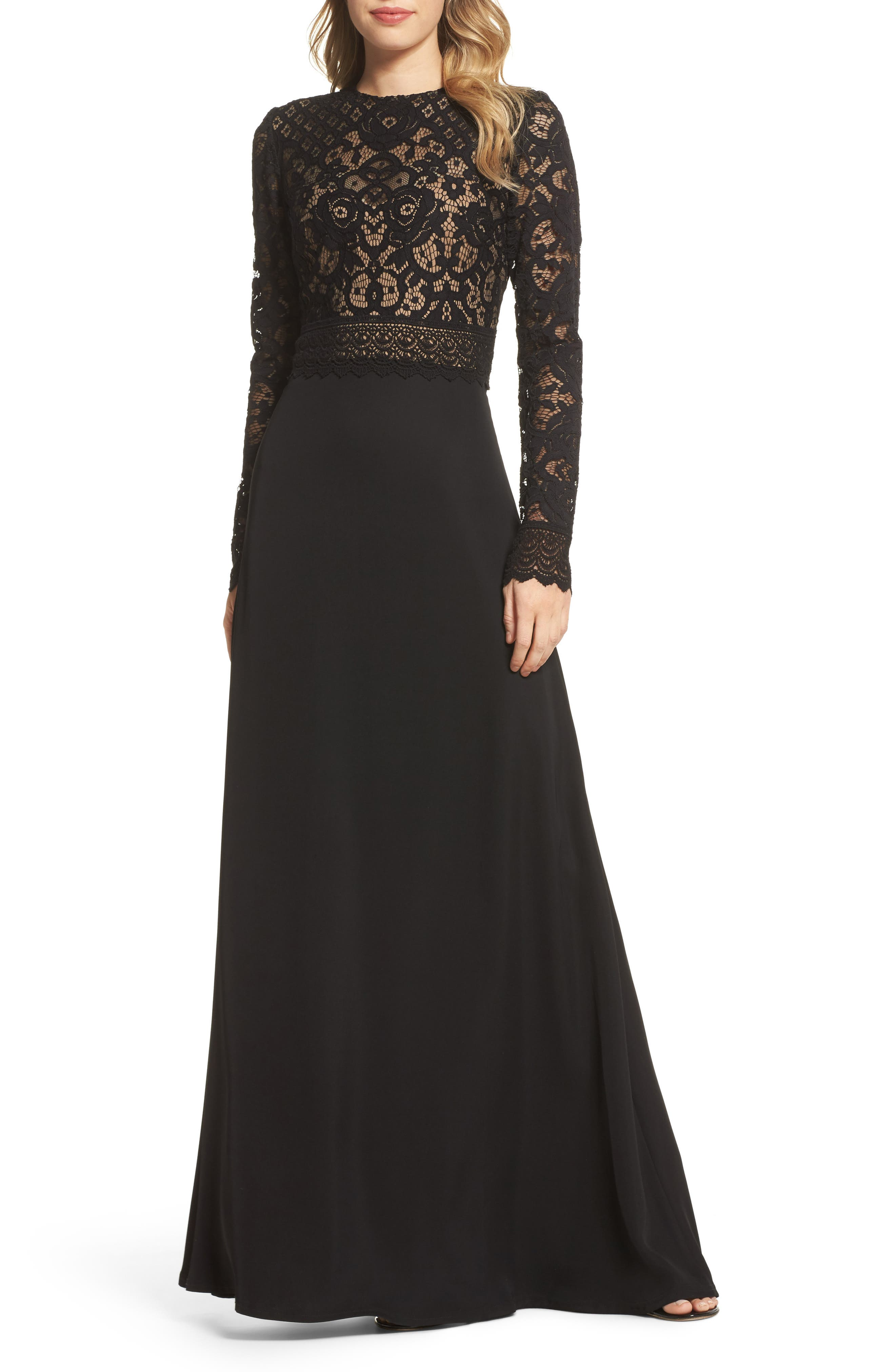 Lace & Crepe Gown,                             Main thumbnail 1, color,                             Black/ Nude