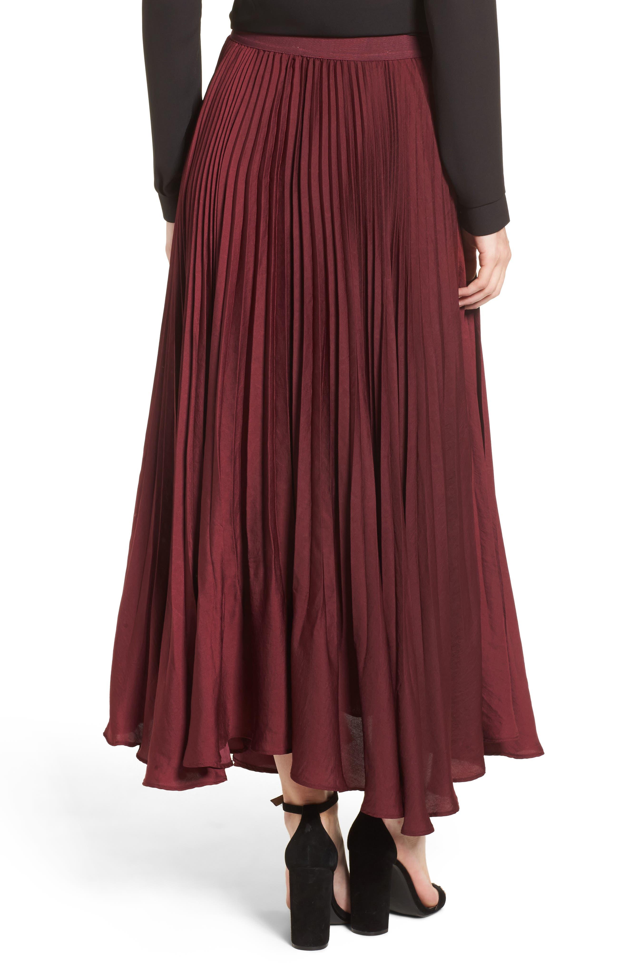 Pleated Midi Skirt,                             Alternate thumbnail 2, color,                             Burgundy
