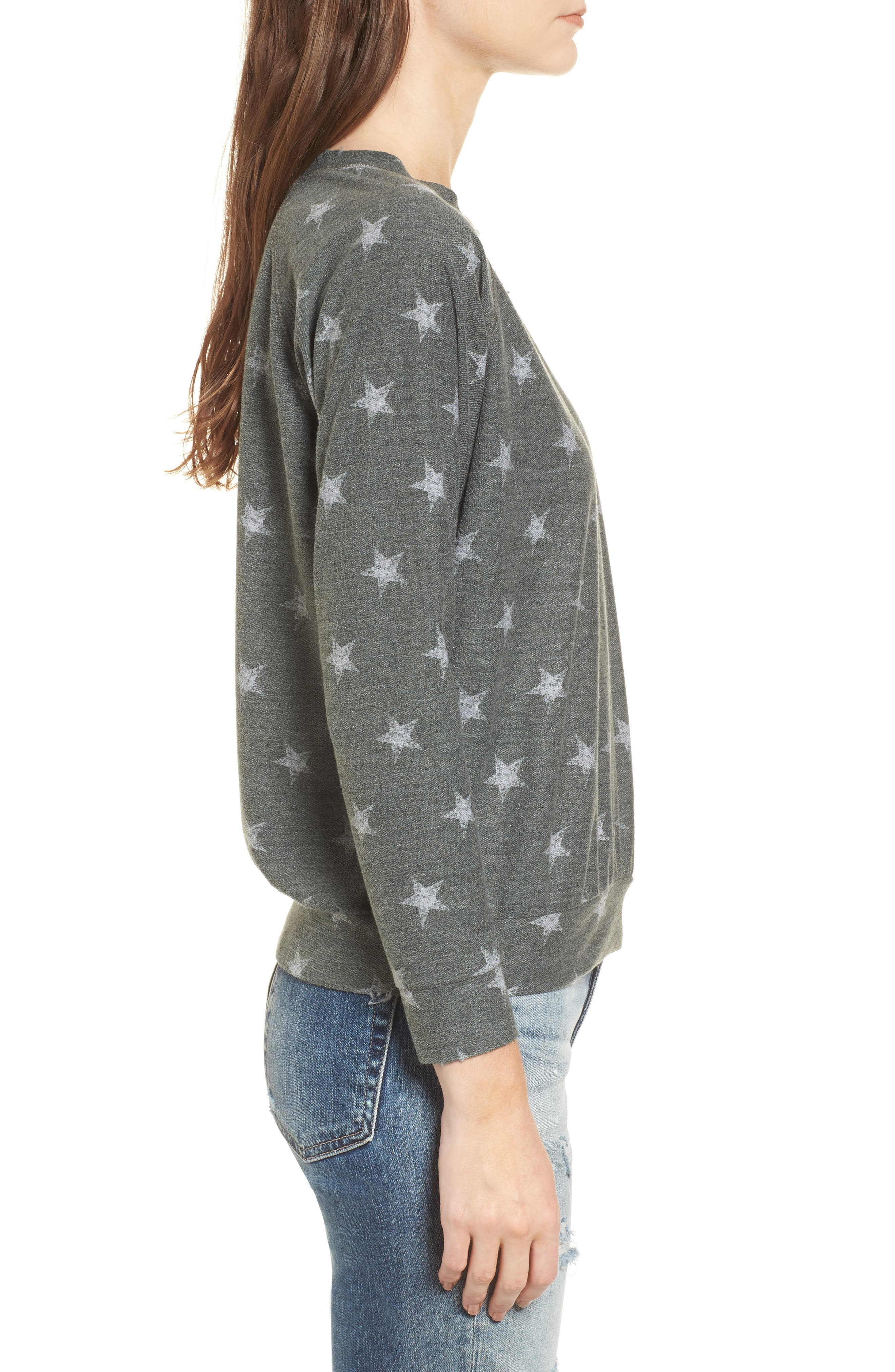 All Over Stars Pullover,                             Alternate thumbnail 3, color,                             Olive