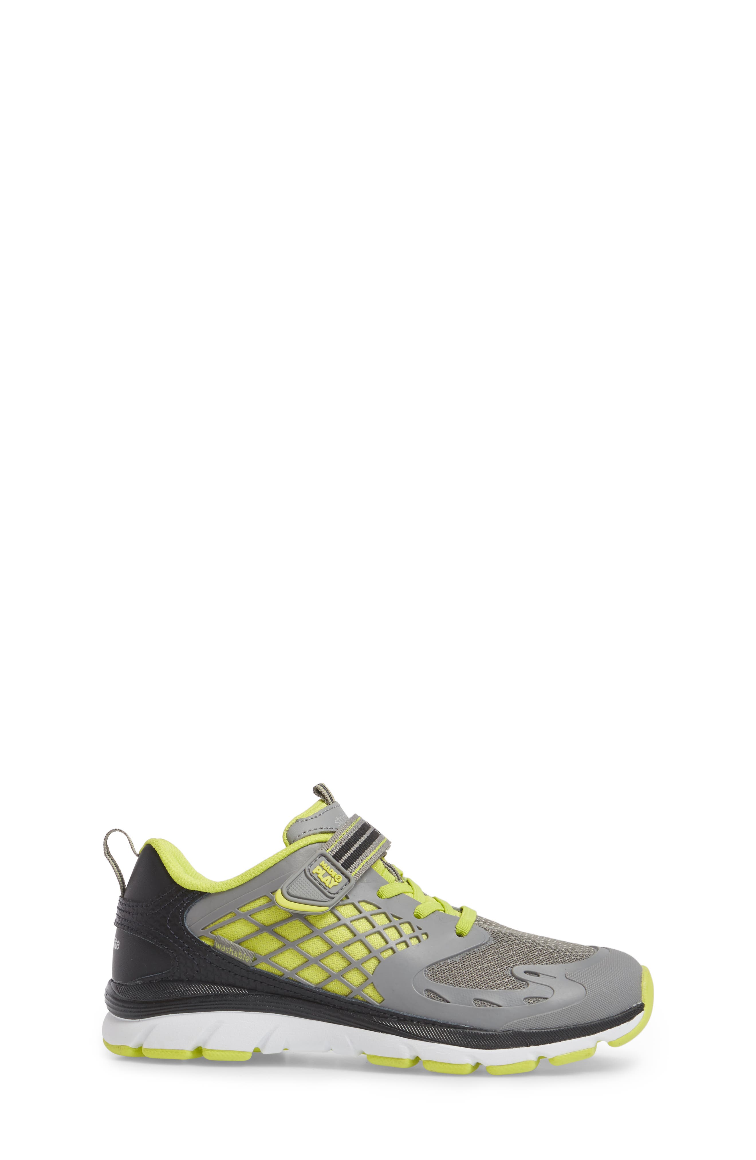 Made 2 Play Breccen Sneaker,                             Alternate thumbnail 3, color,                             Grey/ Lime Leather/ Textile