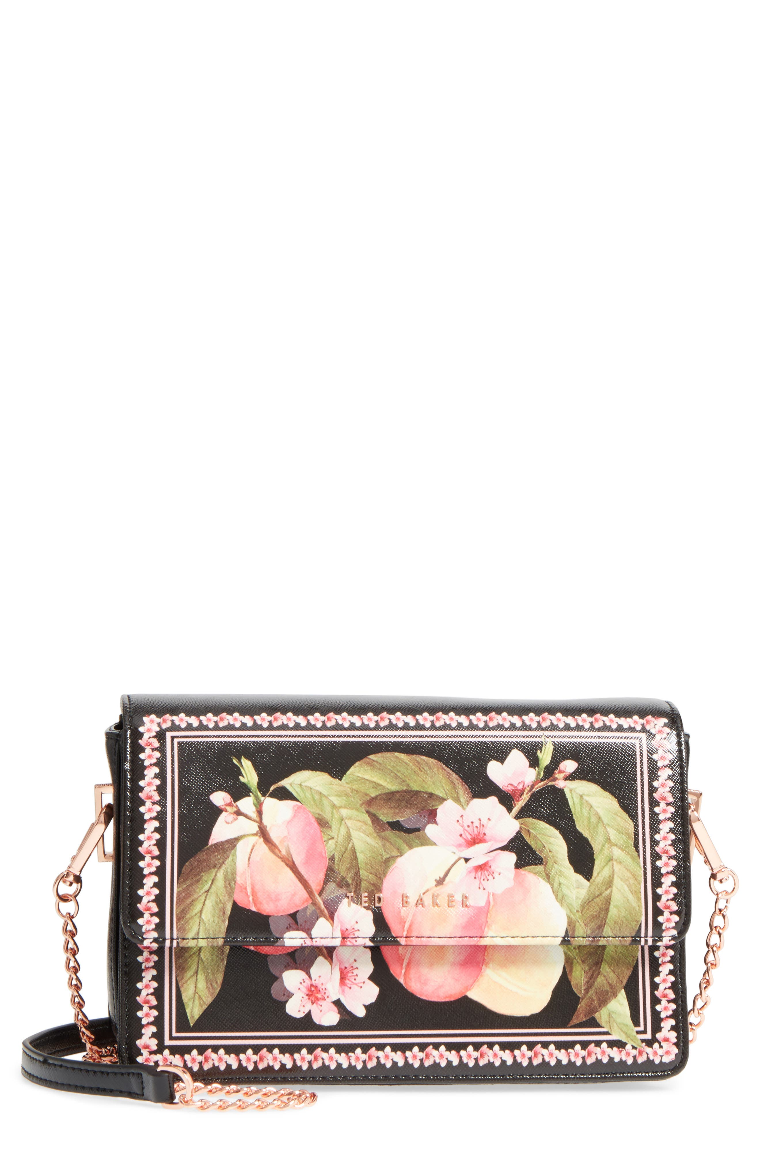 Jesenia Peach Blossom Faux Leather Crossbody Bag,                             Main thumbnail 1, color,                             Black