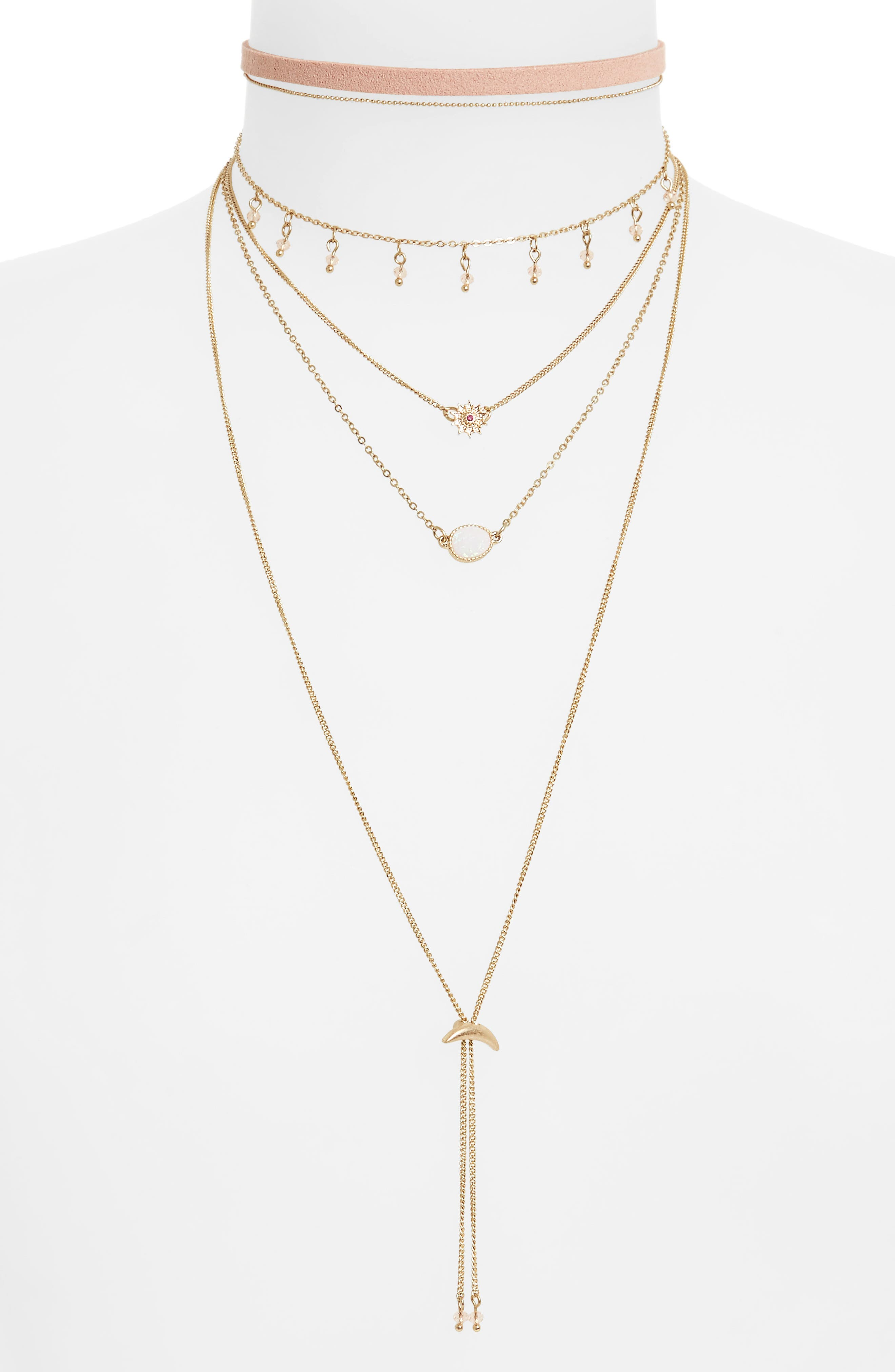 Topshop Rose Layered Necklace
