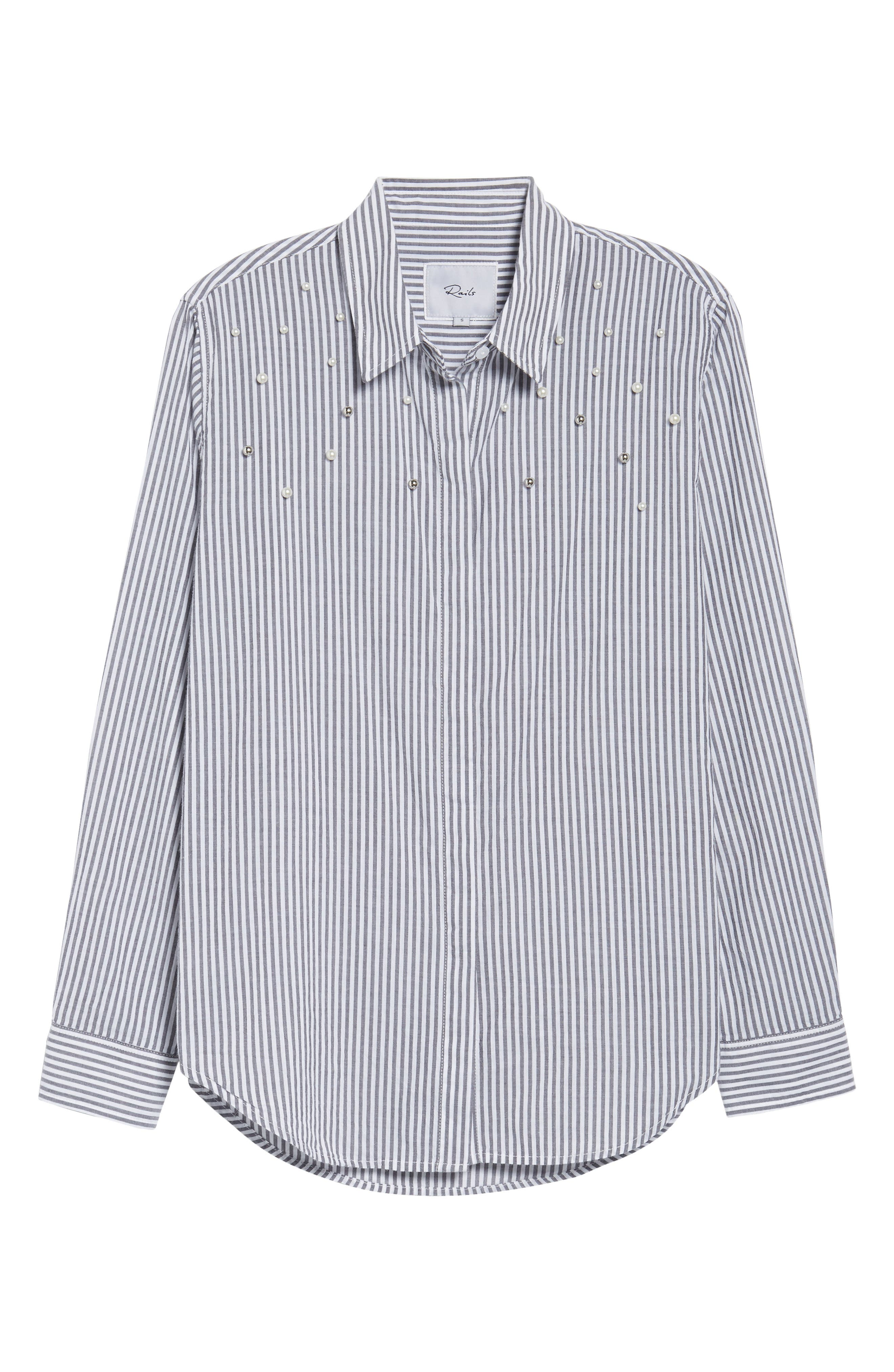 Taylor Embellished Shirt,                             Alternate thumbnail 6, color,                             Florence Stripe Studded Pearls