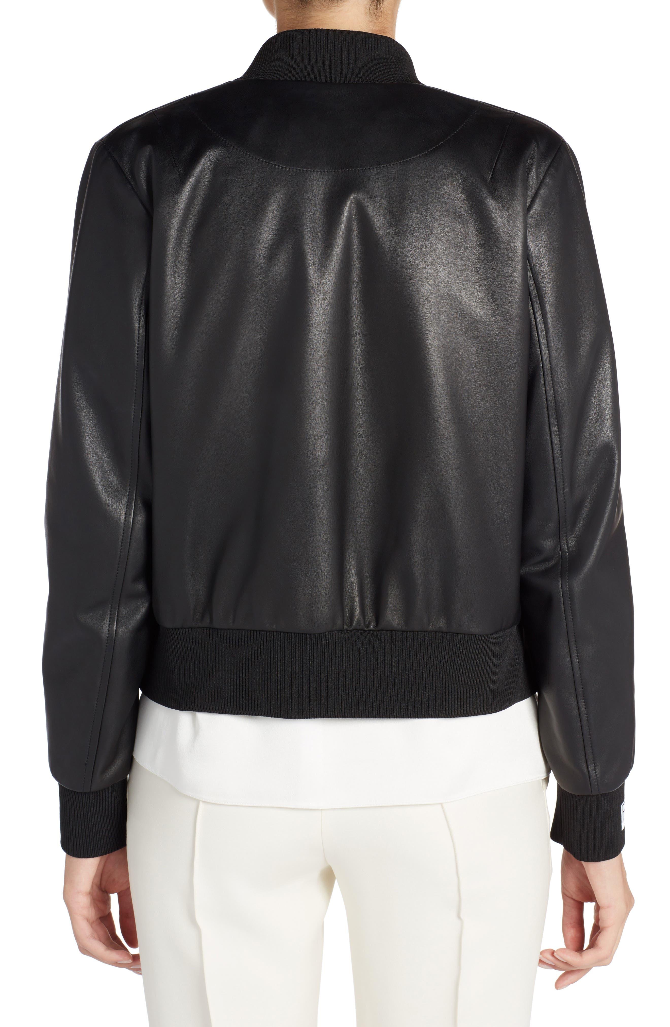 Embellished Bow Leather Bomber,                             Alternate thumbnail 2, color,                             Black