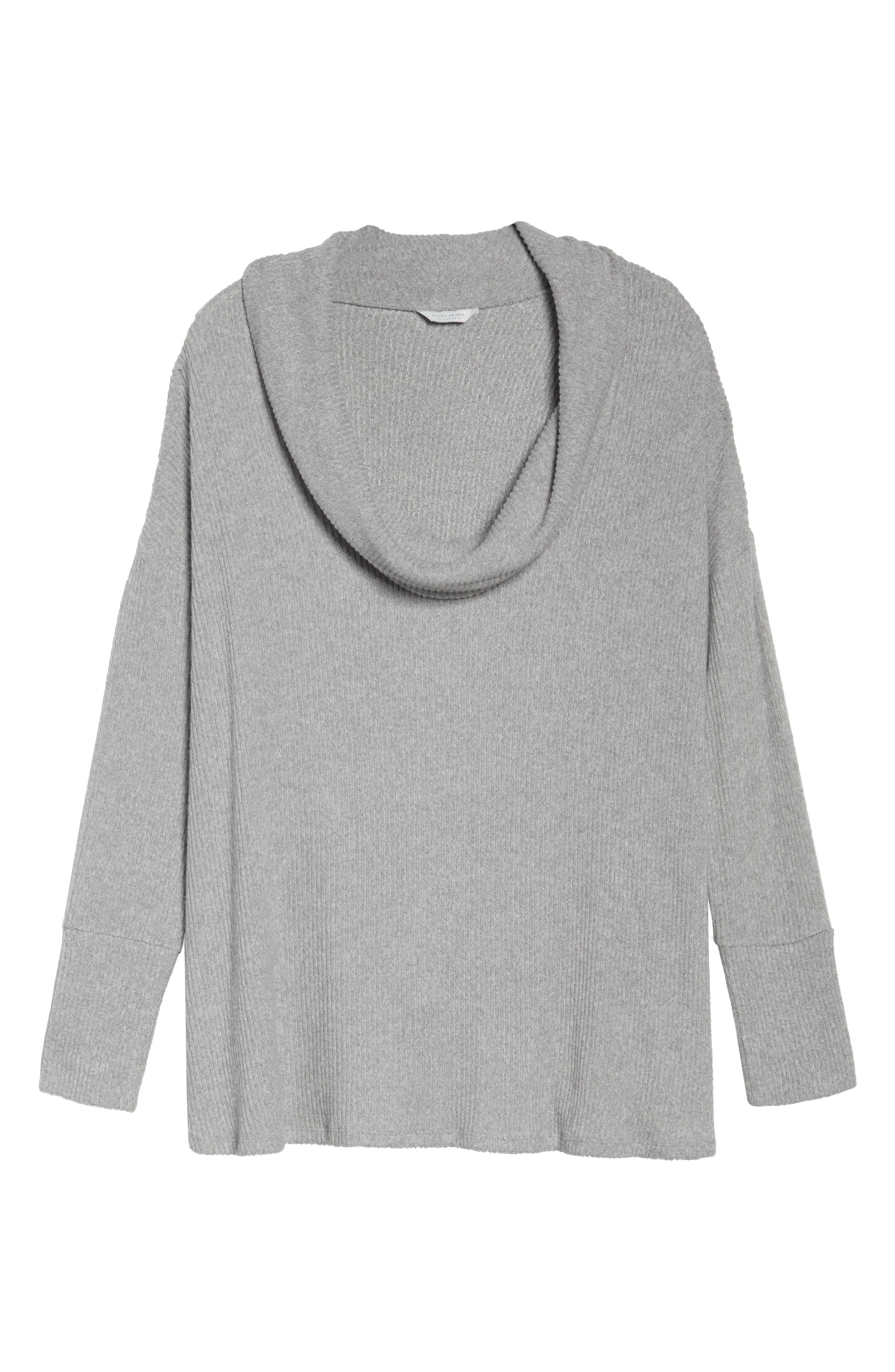 Cowl Neck Pullover,                             Alternate thumbnail 6, color,                             Heather Grey