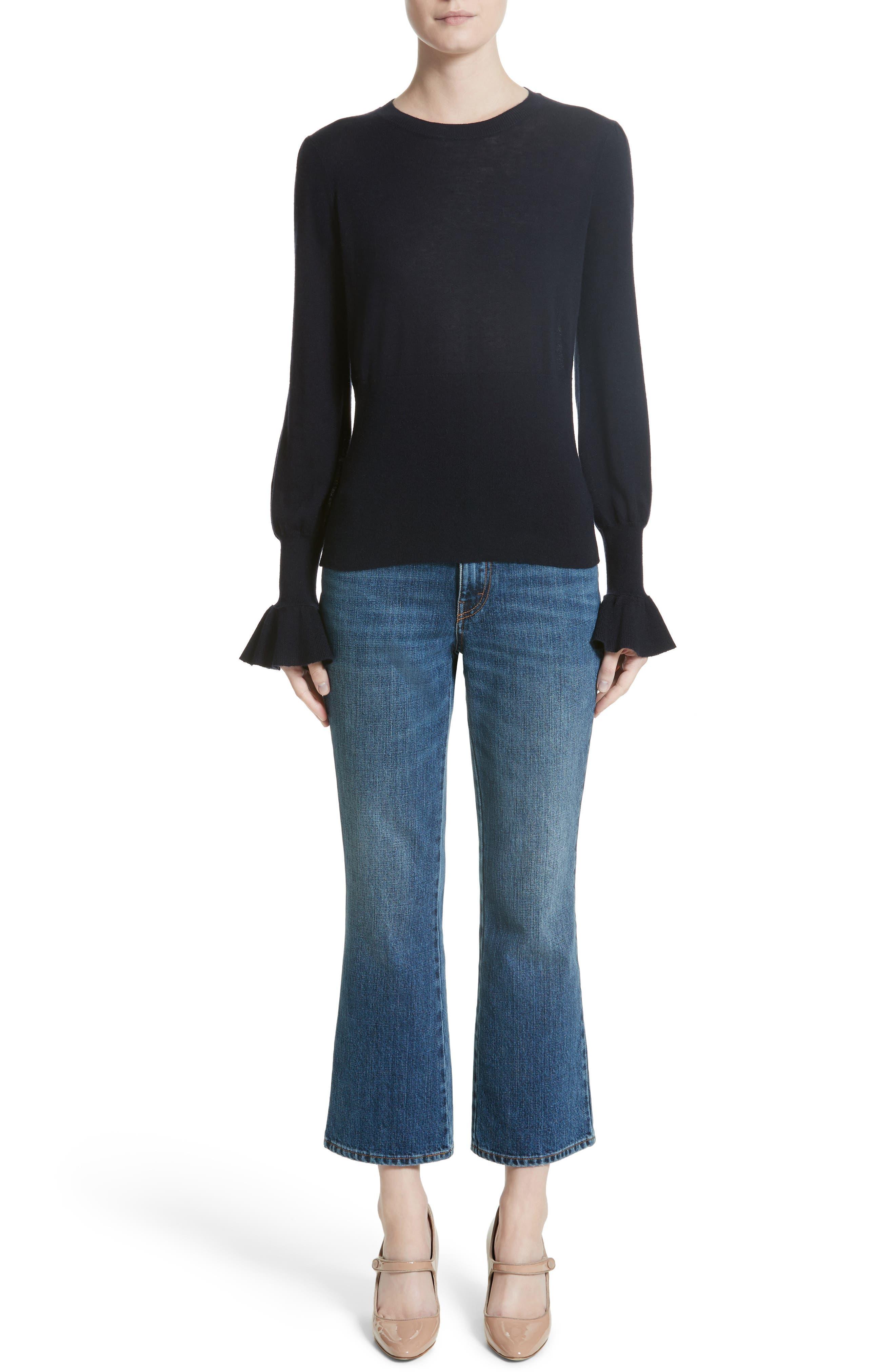 Alternate Image 7  - Co Ruffle Sleeve Silk & Cashmere Sweater