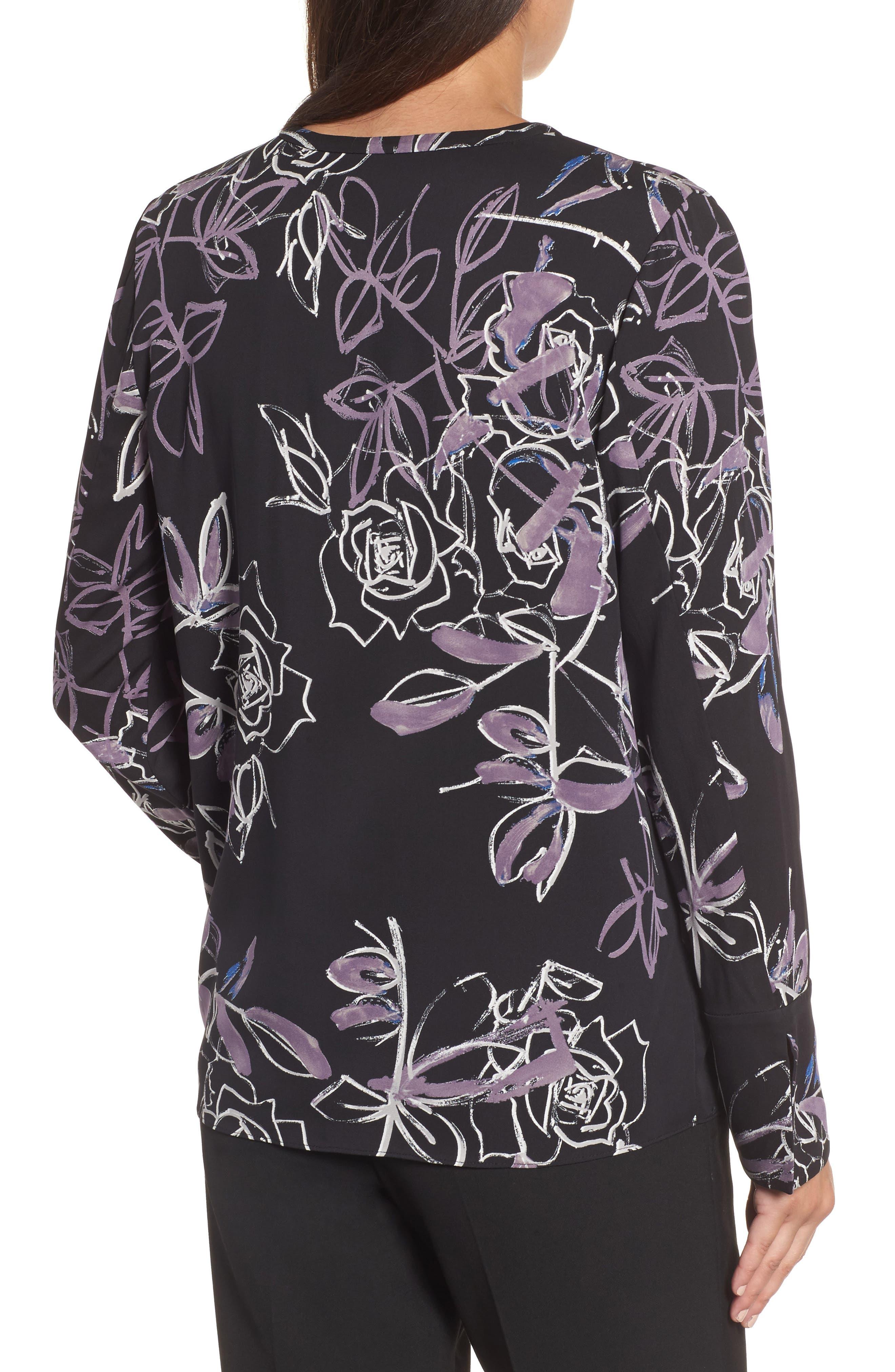 Long Sleeve Print Blouse,                             Alternate thumbnail 2, color,                             Black Roses Print