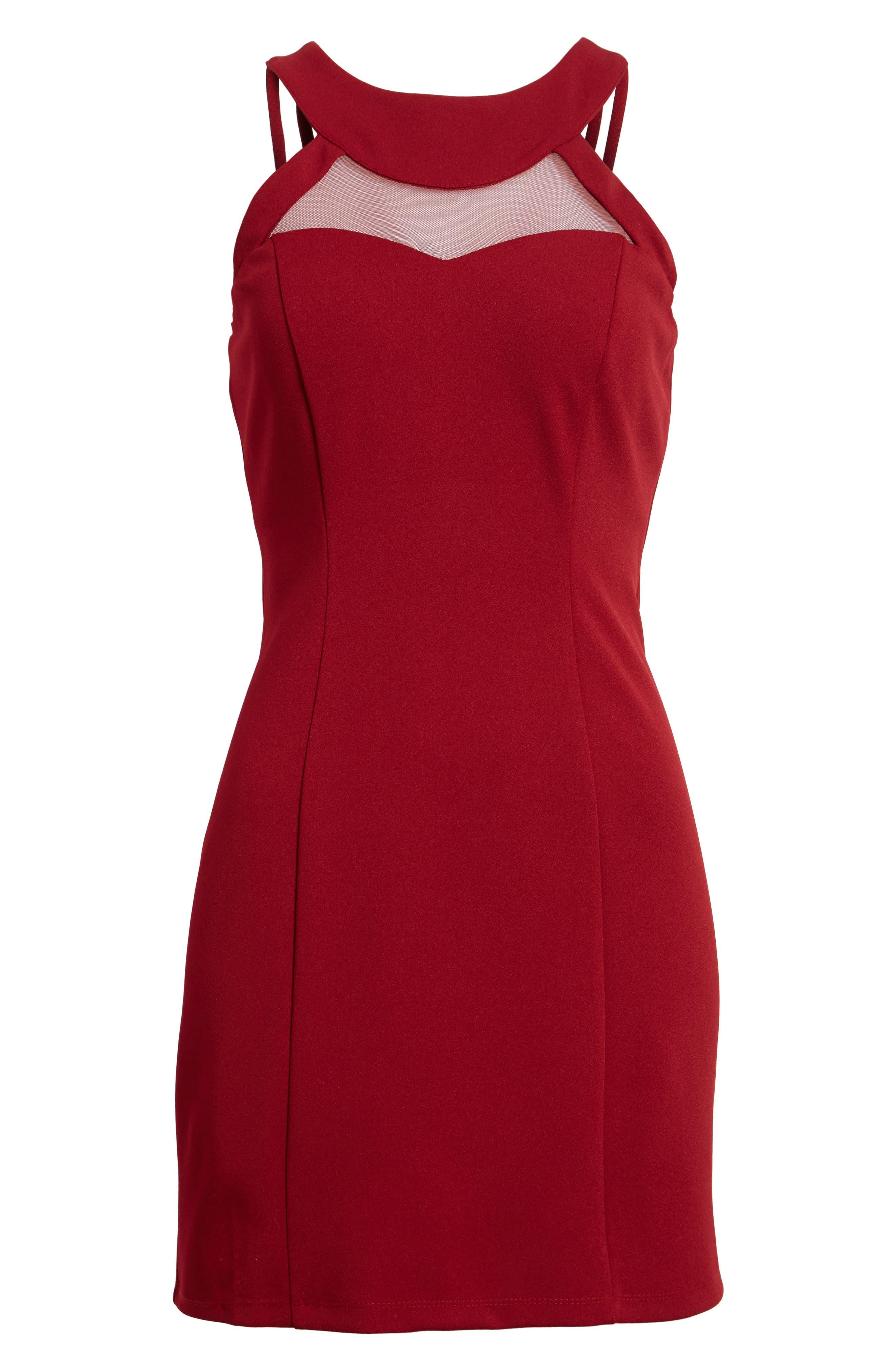 Strappy Illusion Yoke Sheath Dress,                             Alternate thumbnail 6, color,                             Garnet