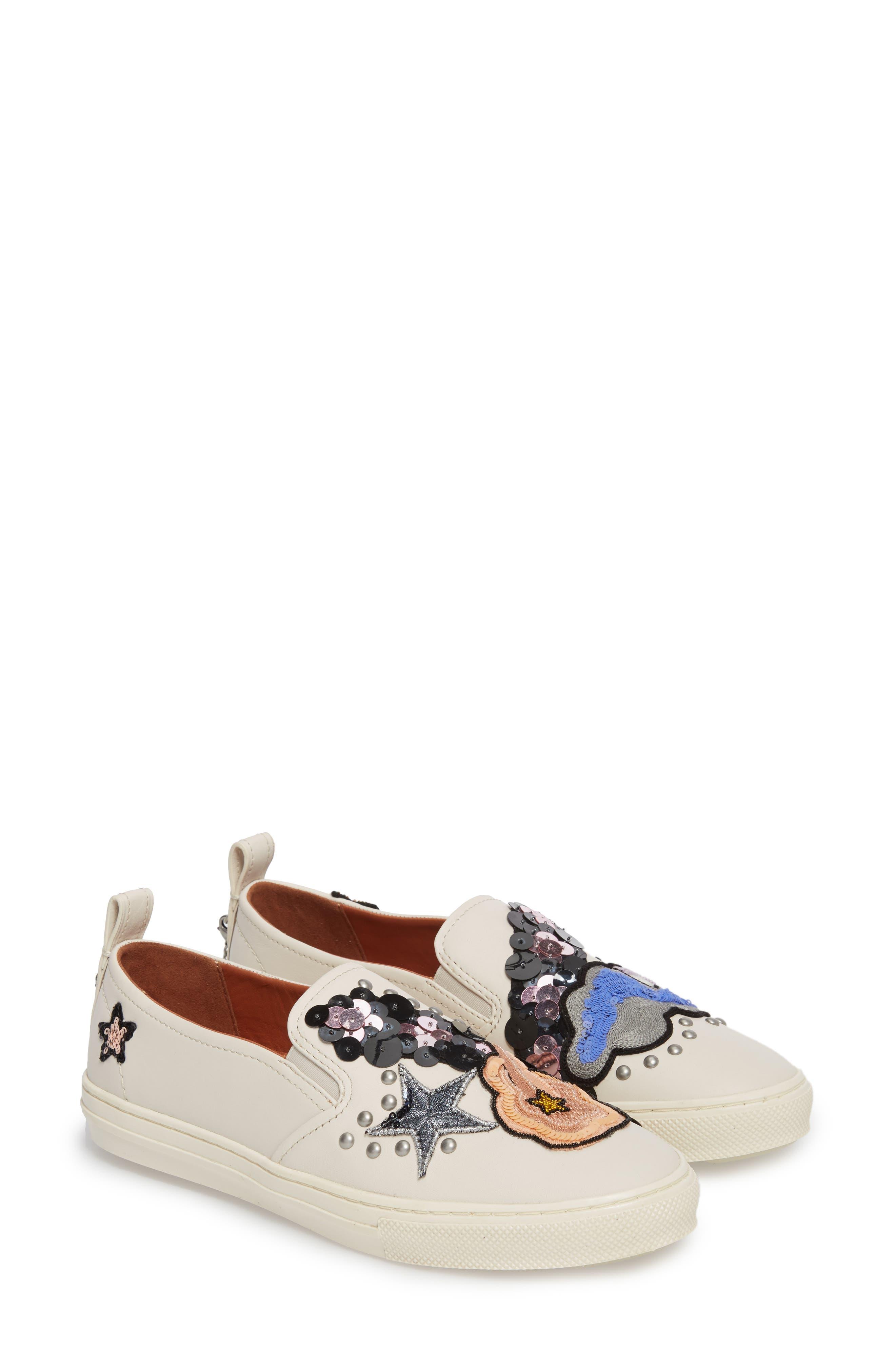 Star Patch Slip-On Sneaker,                             Alternate thumbnail 4, color,                             Chalk Leather