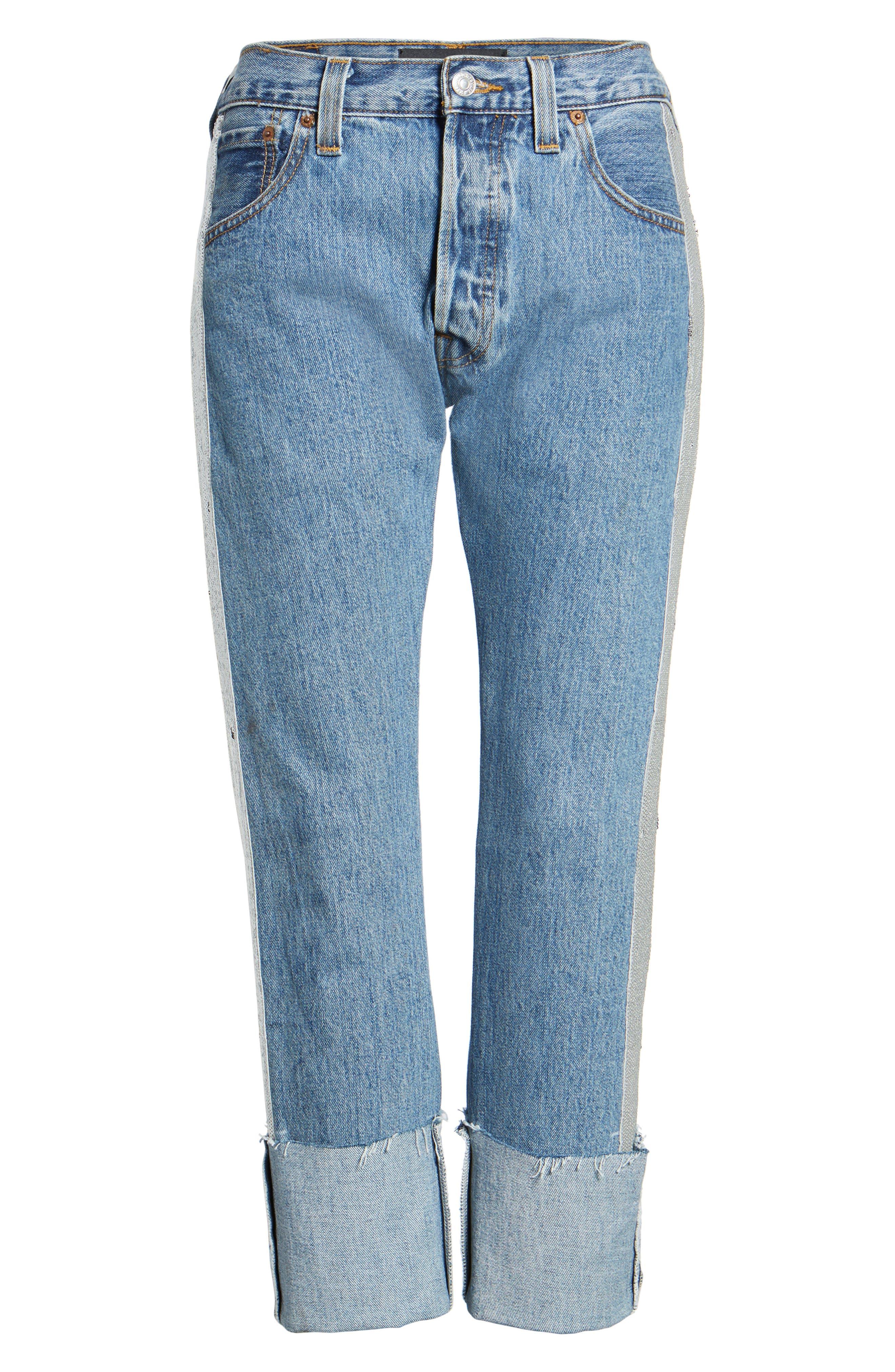 Sequin Boyfriend Jeans,                             Alternate thumbnail 7, color,                             Medium Wash/ Silver