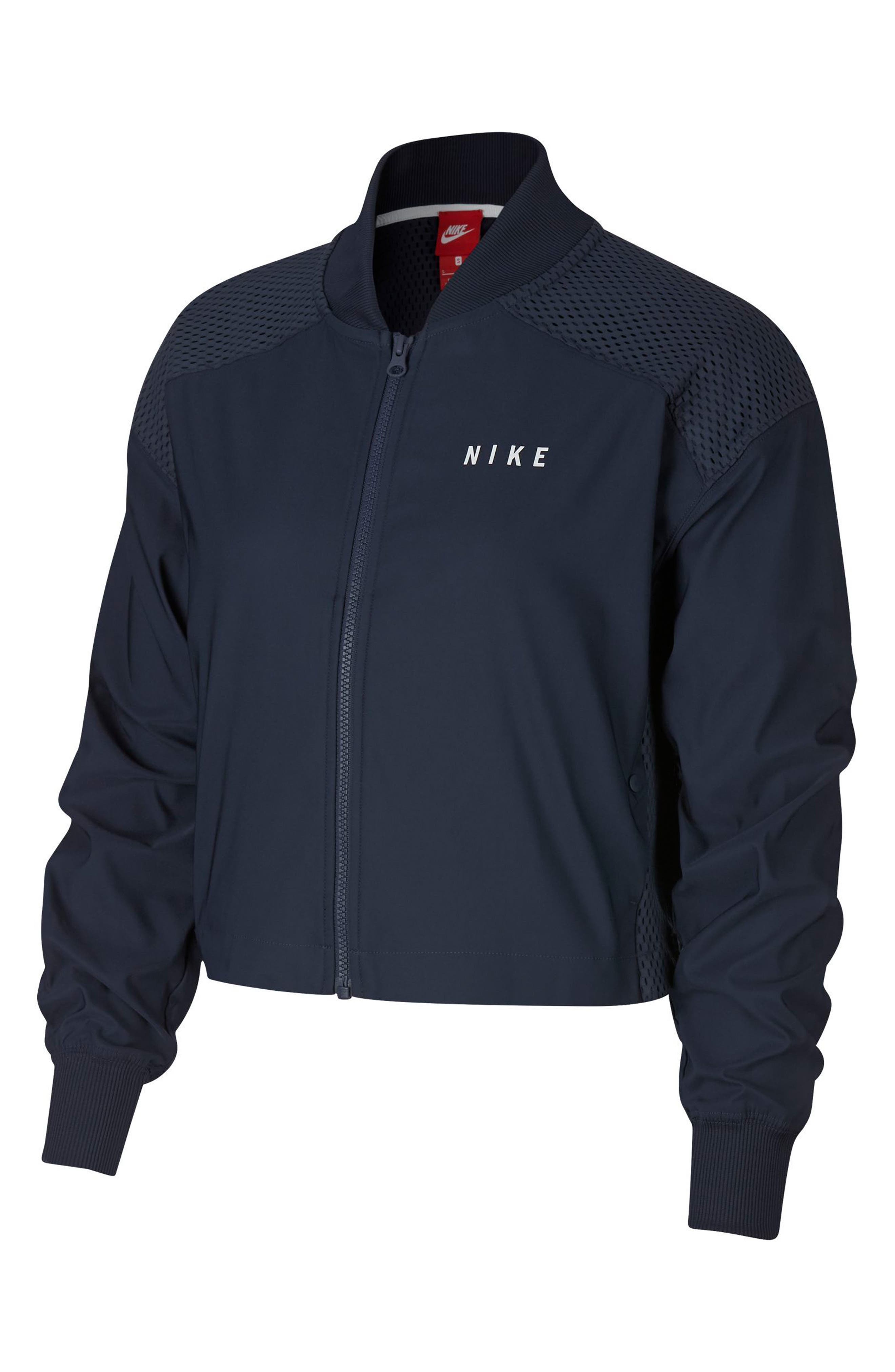 Sportswear Women's Dry Bomber Jacket,                             Main thumbnail 1, color,                             Obsidian/ White