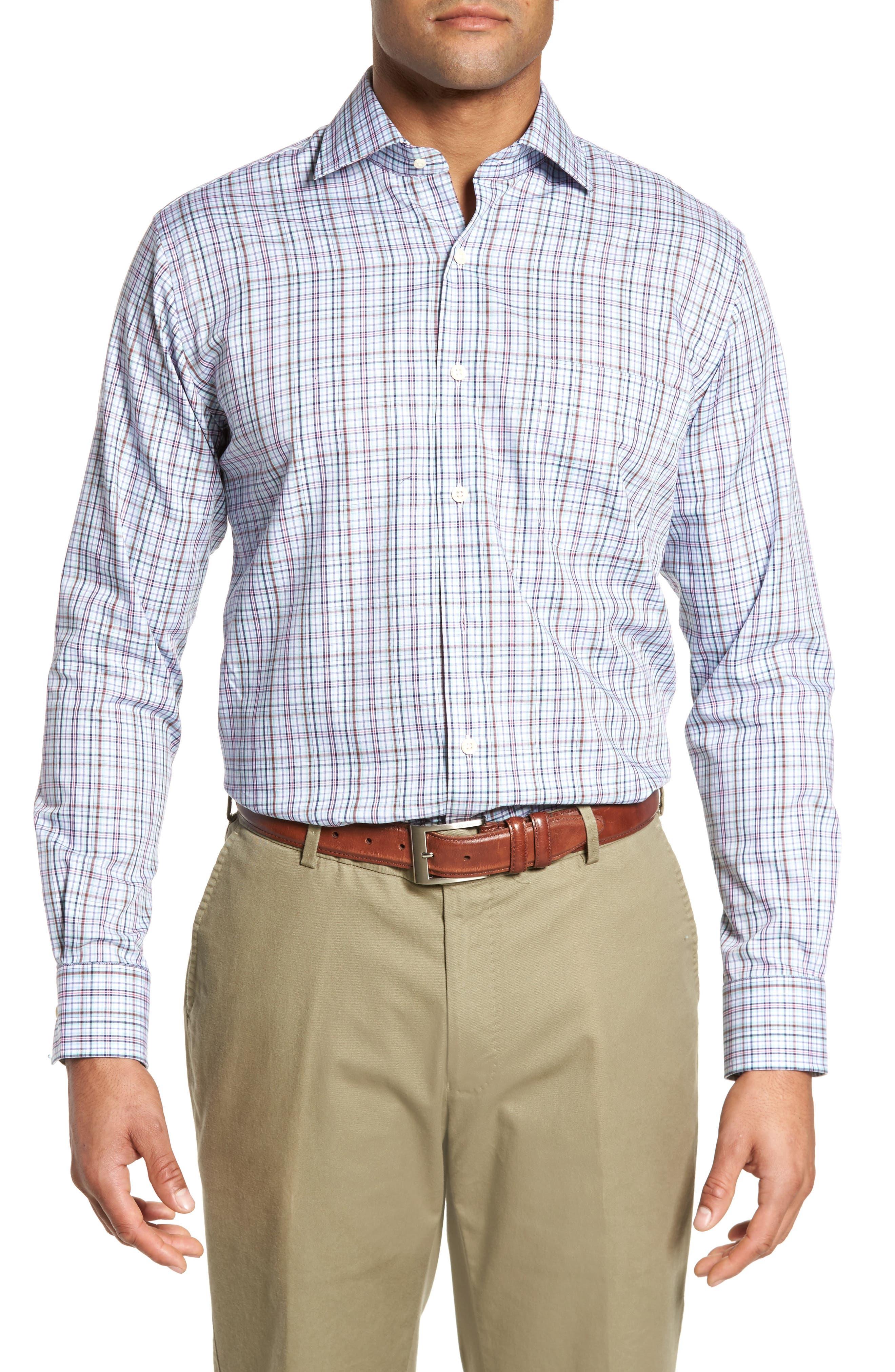 Crown Ease Tango Pinwheel Regular Fit Sport Shirt,                         Main,                         color, Tar Heel Blue
