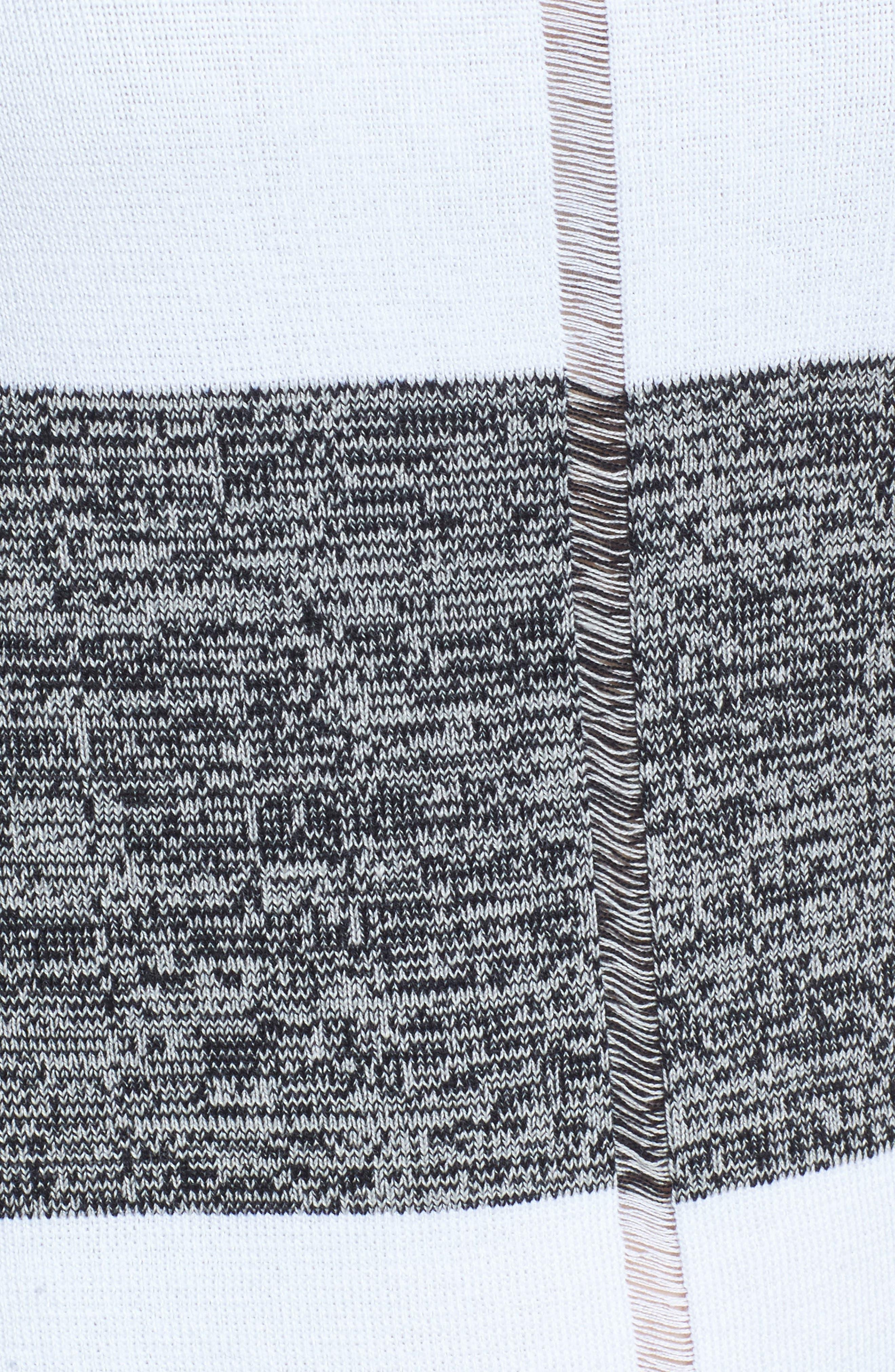 Stripe Open Back Pullover,                             Alternate thumbnail 5, color,                             White/ Almond Beige/ Black