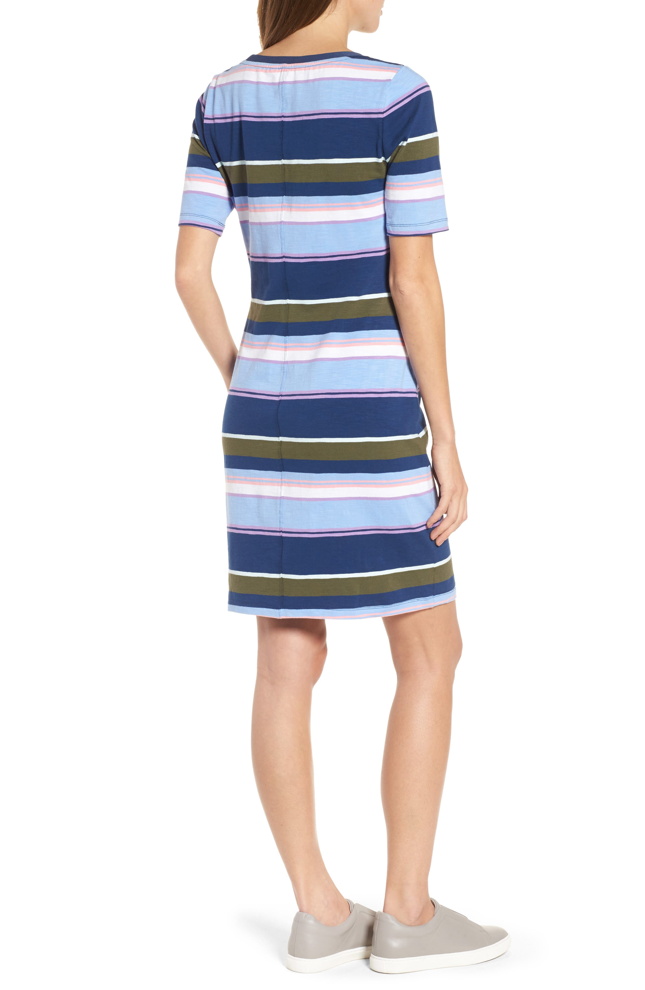 Stripe Scoop Neck Dress,                             Alternate thumbnail 2, color,                             Kingdom Blue