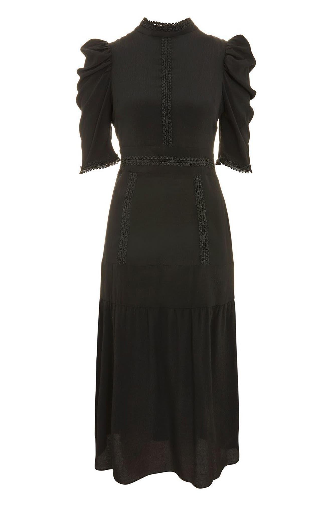 Corset Back Tiered Midi Dress,                             Alternate thumbnail 4, color,                             Black
