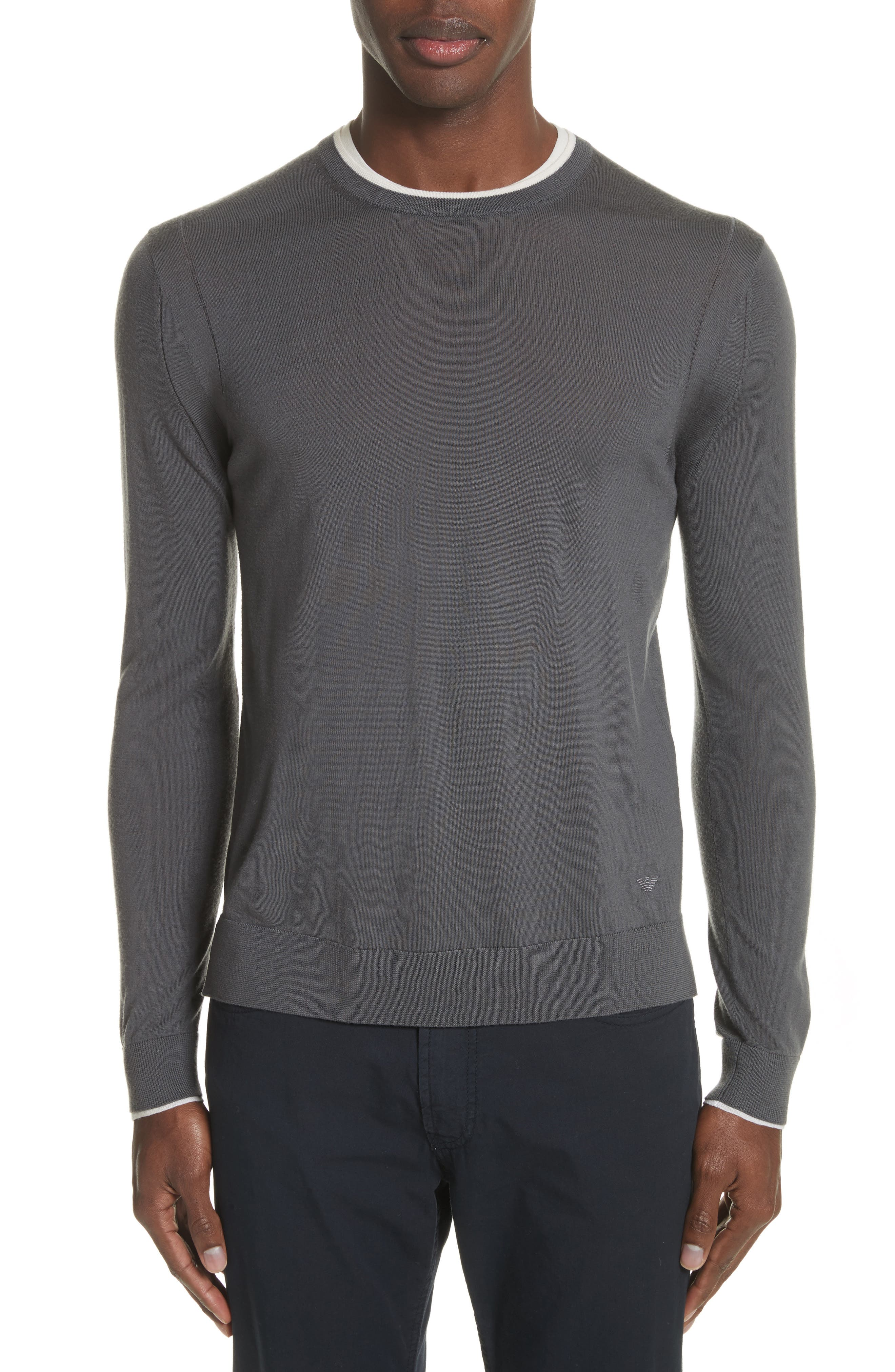 Slim Fit Wool Sweater,                             Main thumbnail 1, color,                             Grigio Carbone