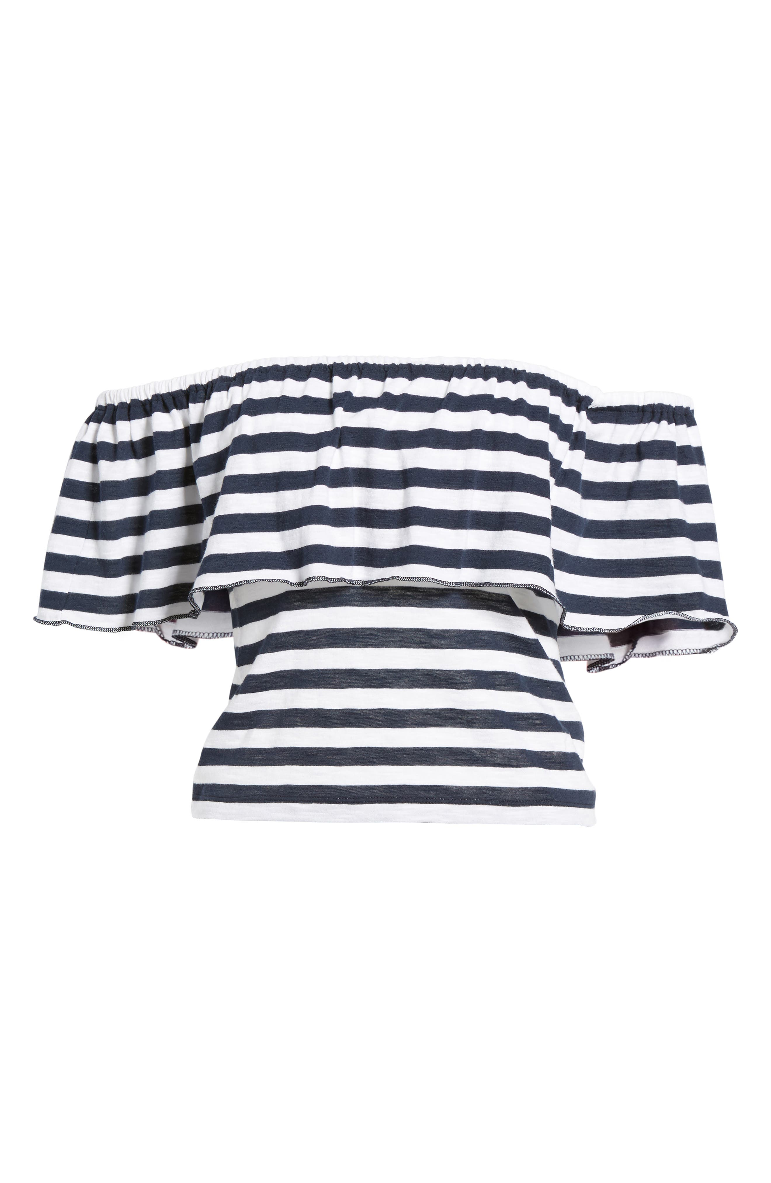 Stripe Ruffle Off the Shoulder Tee,                             Alternate thumbnail 6, color,                             Navy Peacoat Marie Stripe