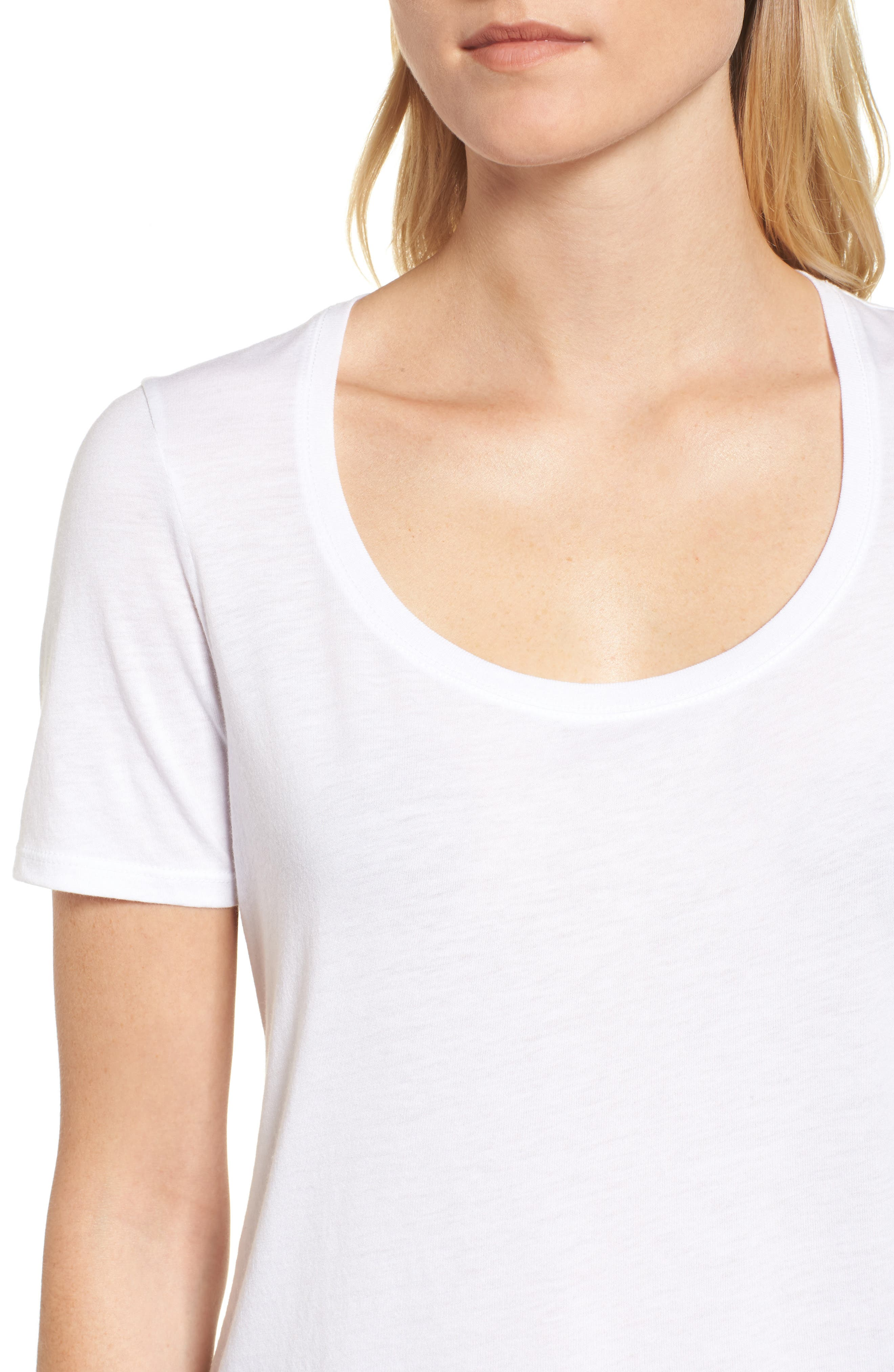 Scoop Neck Tee,                             Alternate thumbnail 4, color,                             White