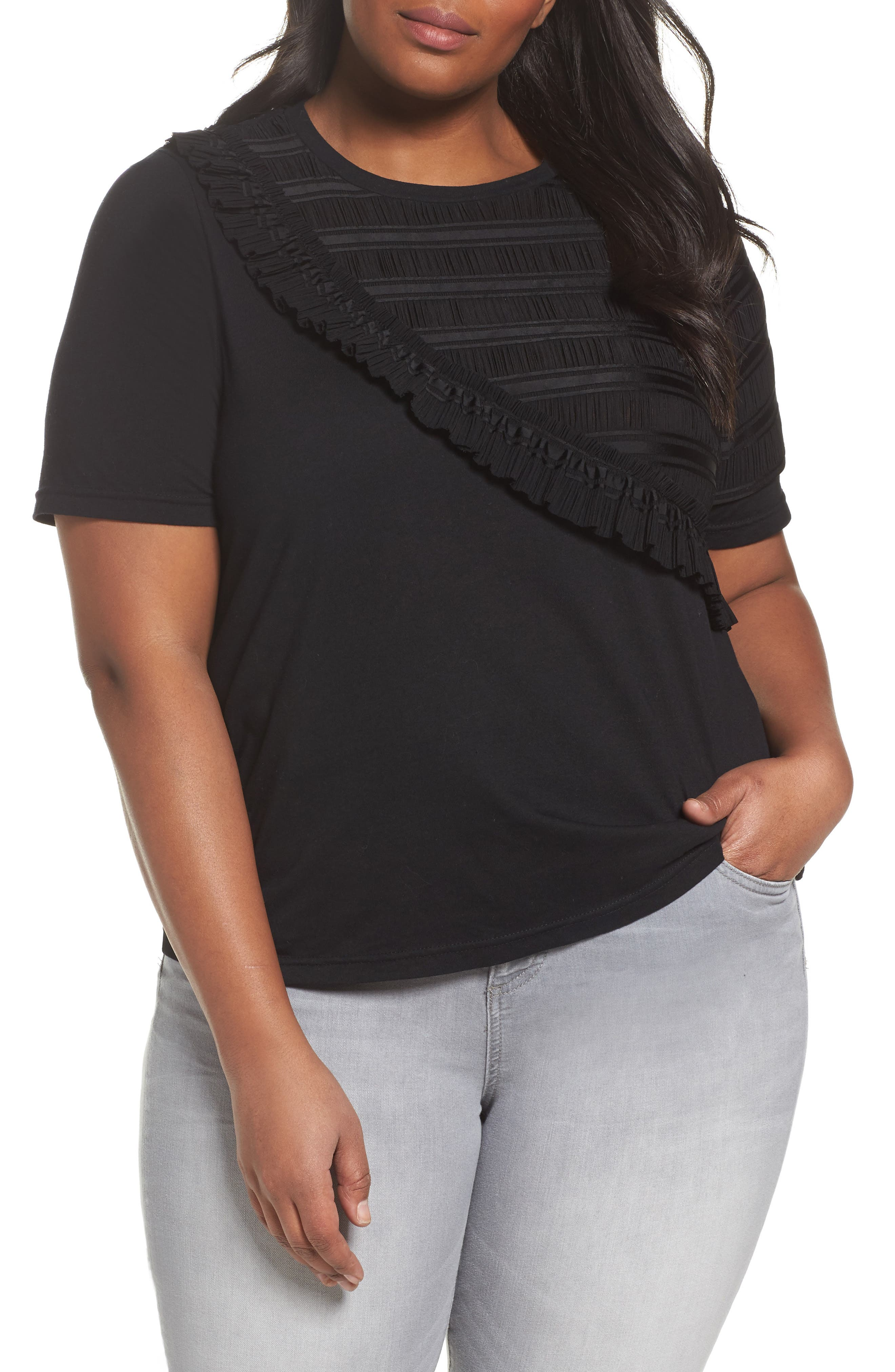 Main Image - LOST INK Tulle Shoulder Tee (Plus Size)