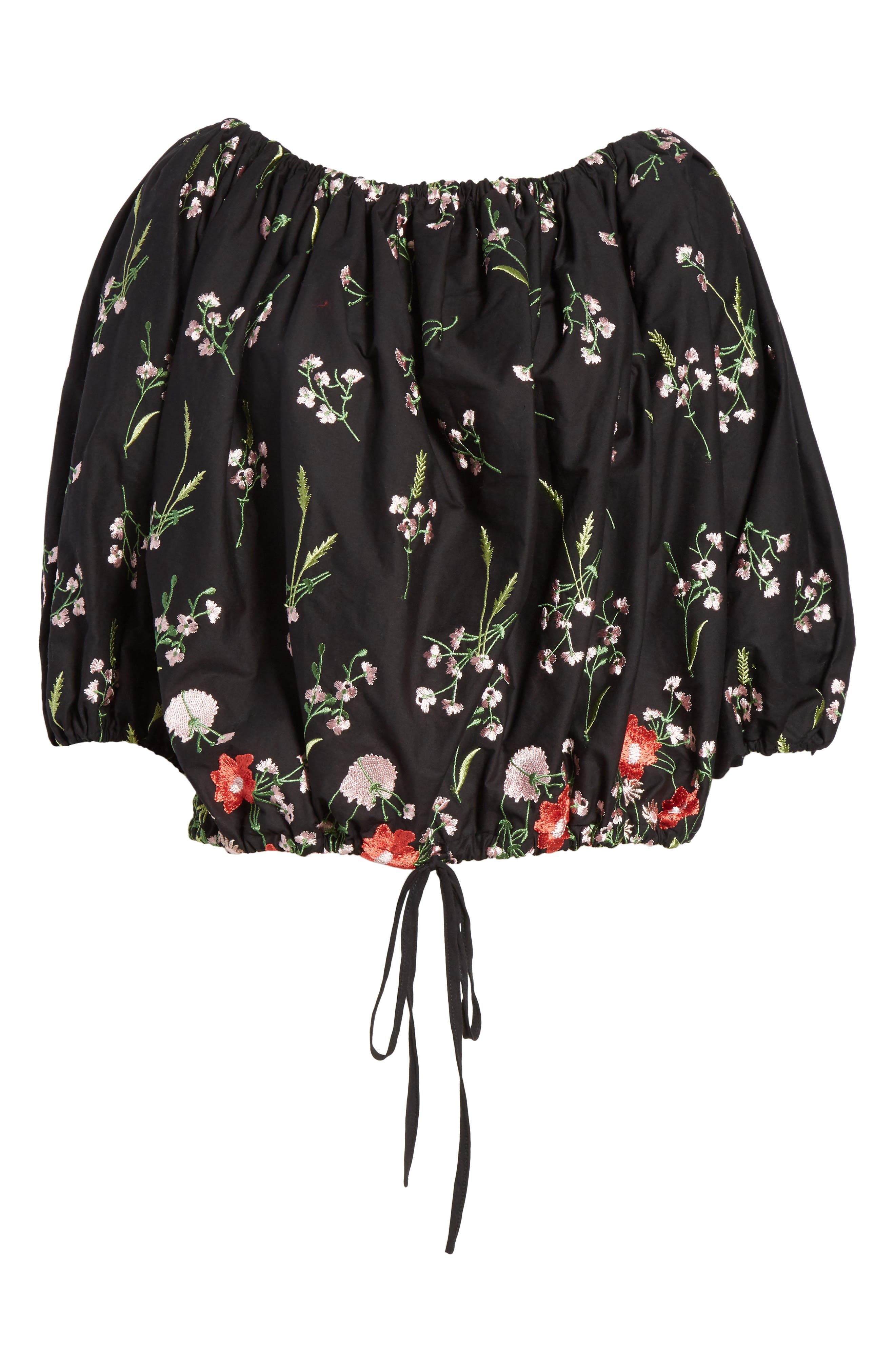 Marques'Almeida Embroidered Off the Shoulder Top,                             Alternate thumbnail 6, color,                             Black/Multi