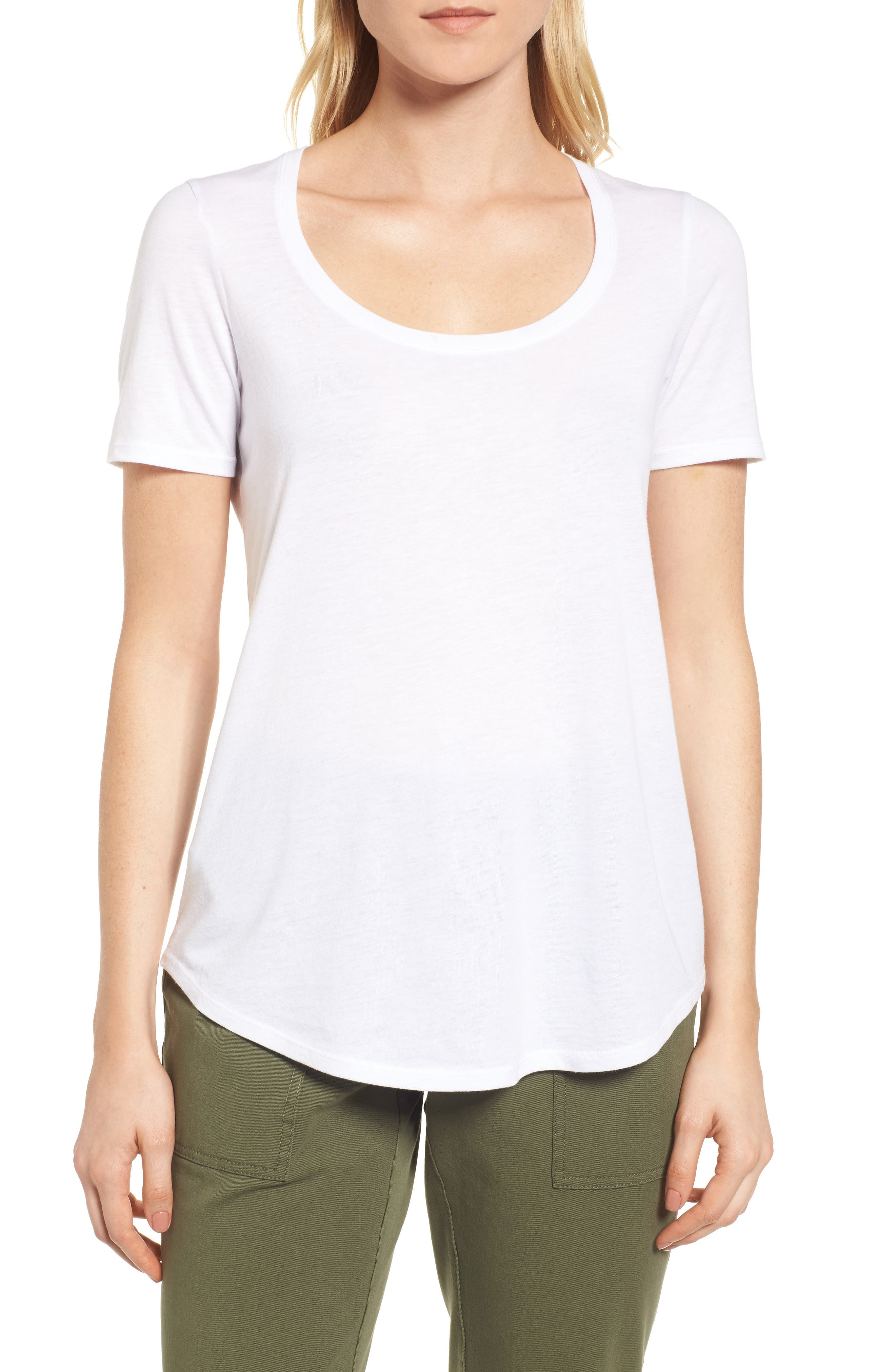 Scoop Neck Tee,                             Main thumbnail 1, color,                             White