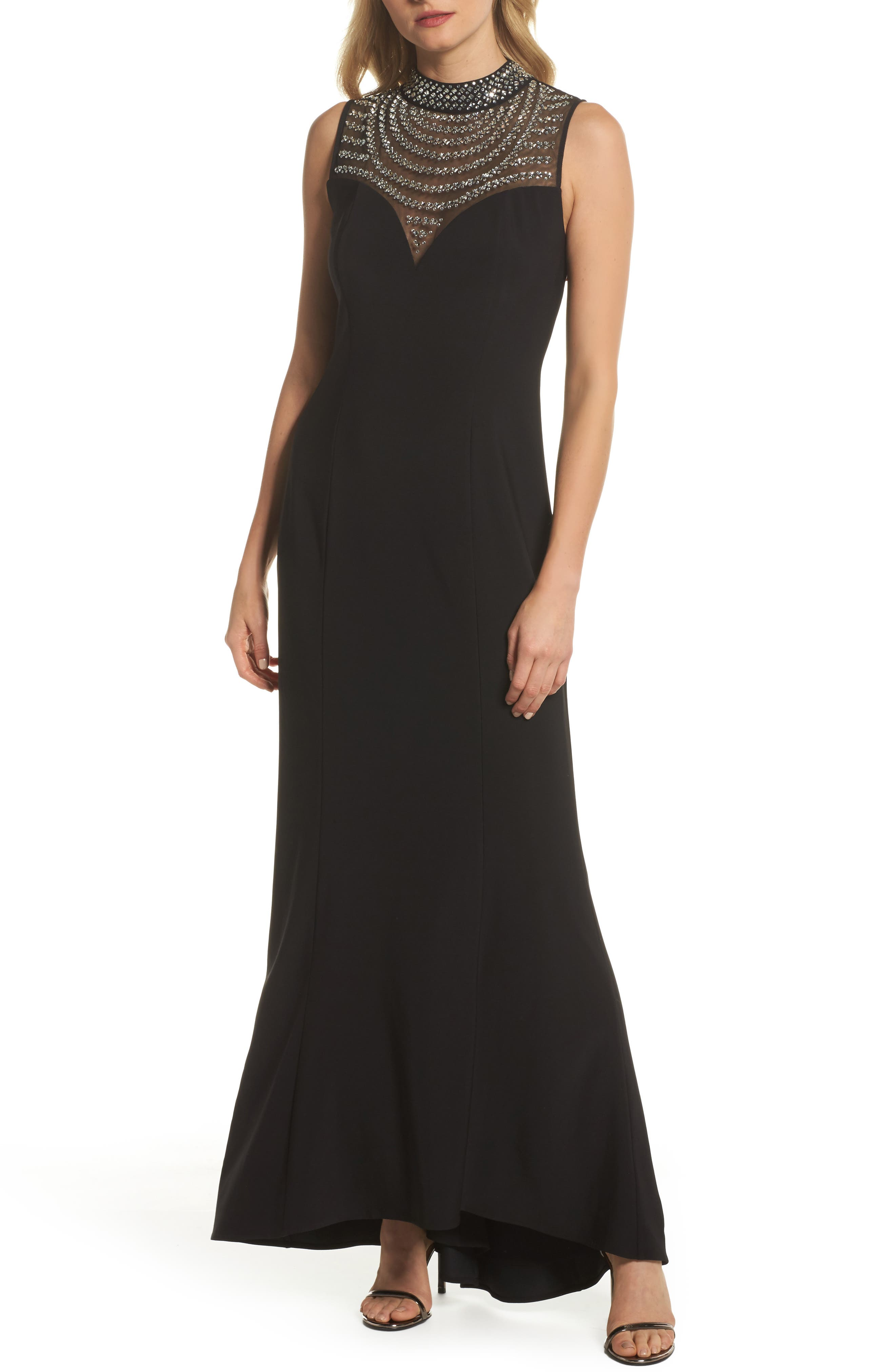 Beaded Illusion Mock Neck Gown,                         Main,                         color, Black