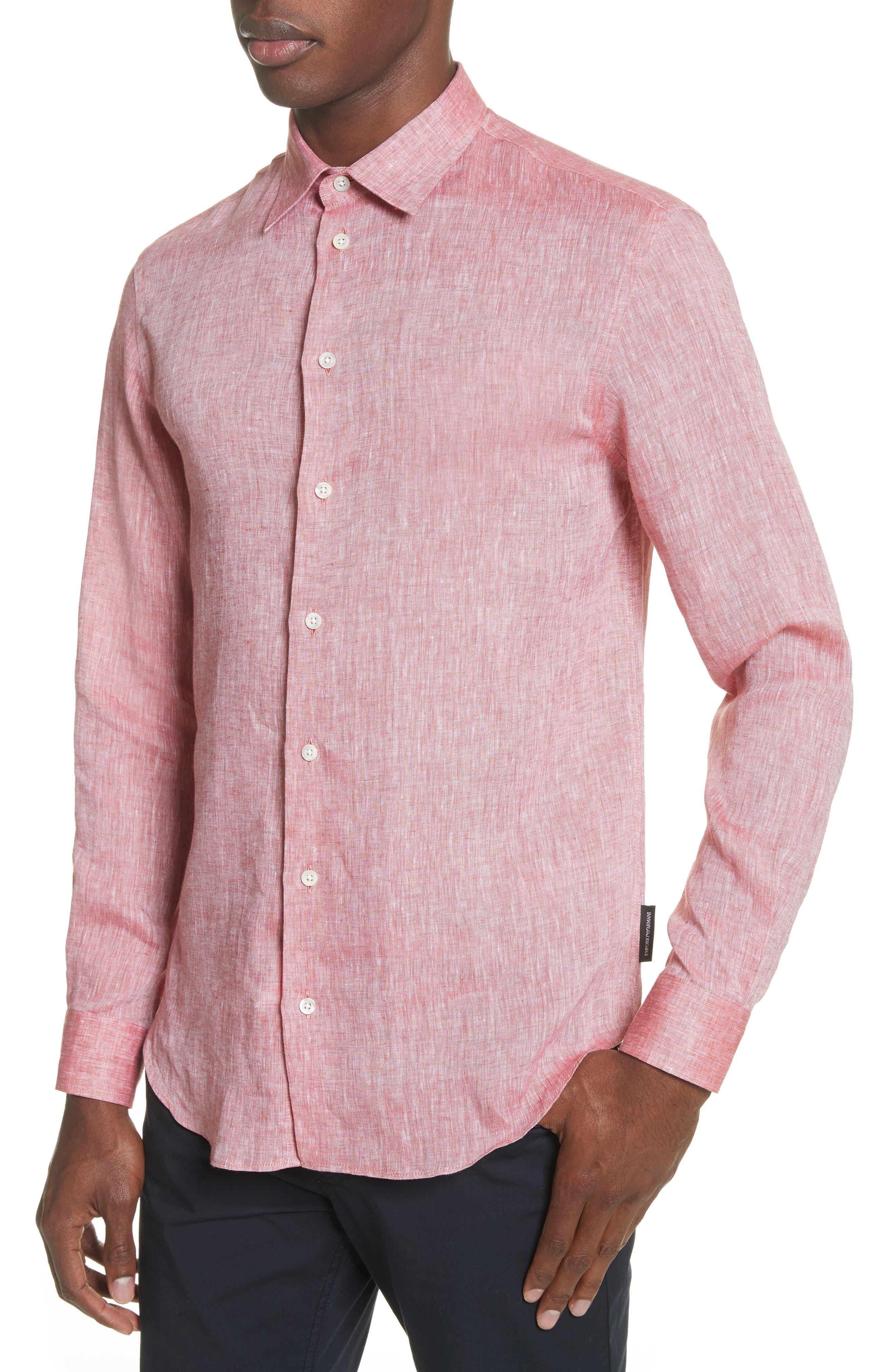 Regular Fit Chambray Sport Shirt,                             Alternate thumbnail 4, color,                             Medium Red