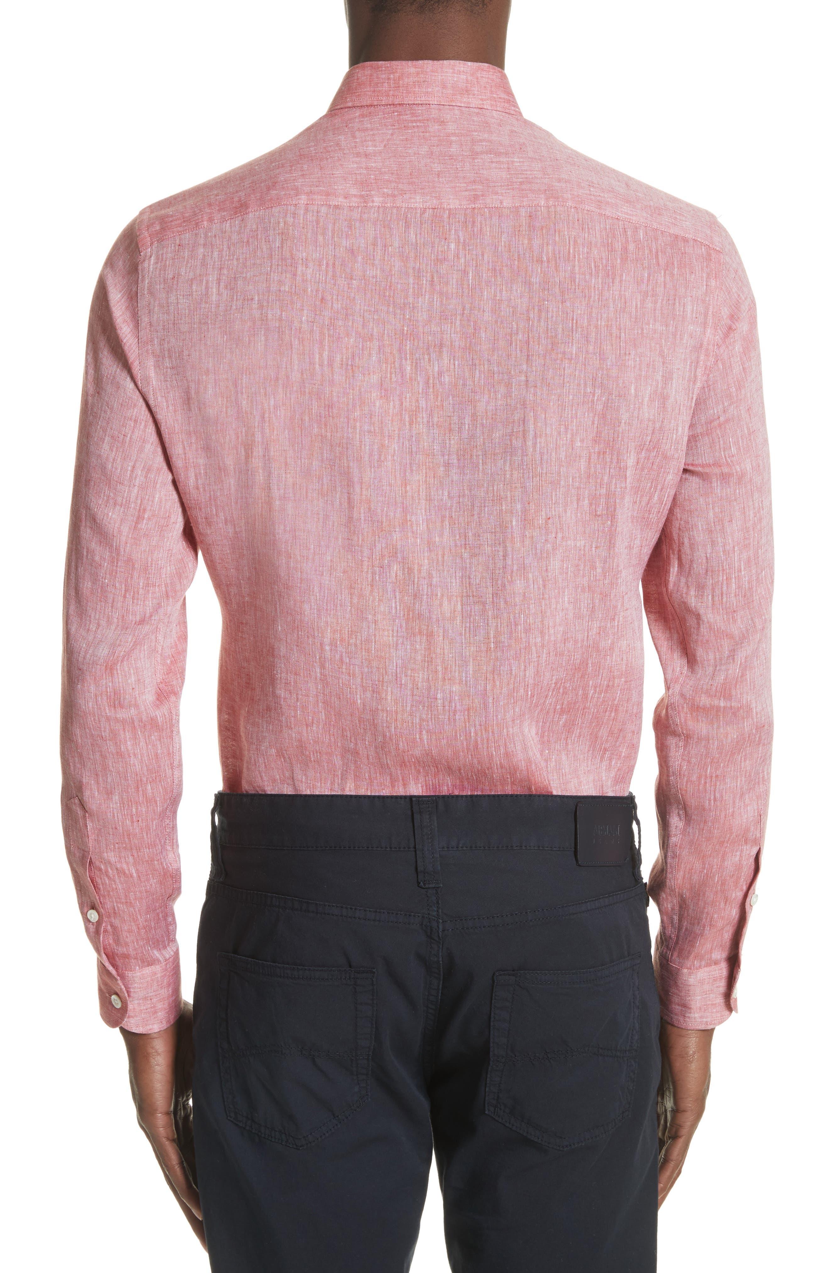 Regular Fit Chambray Sport Shirt,                             Alternate thumbnail 2, color,                             Medium Red