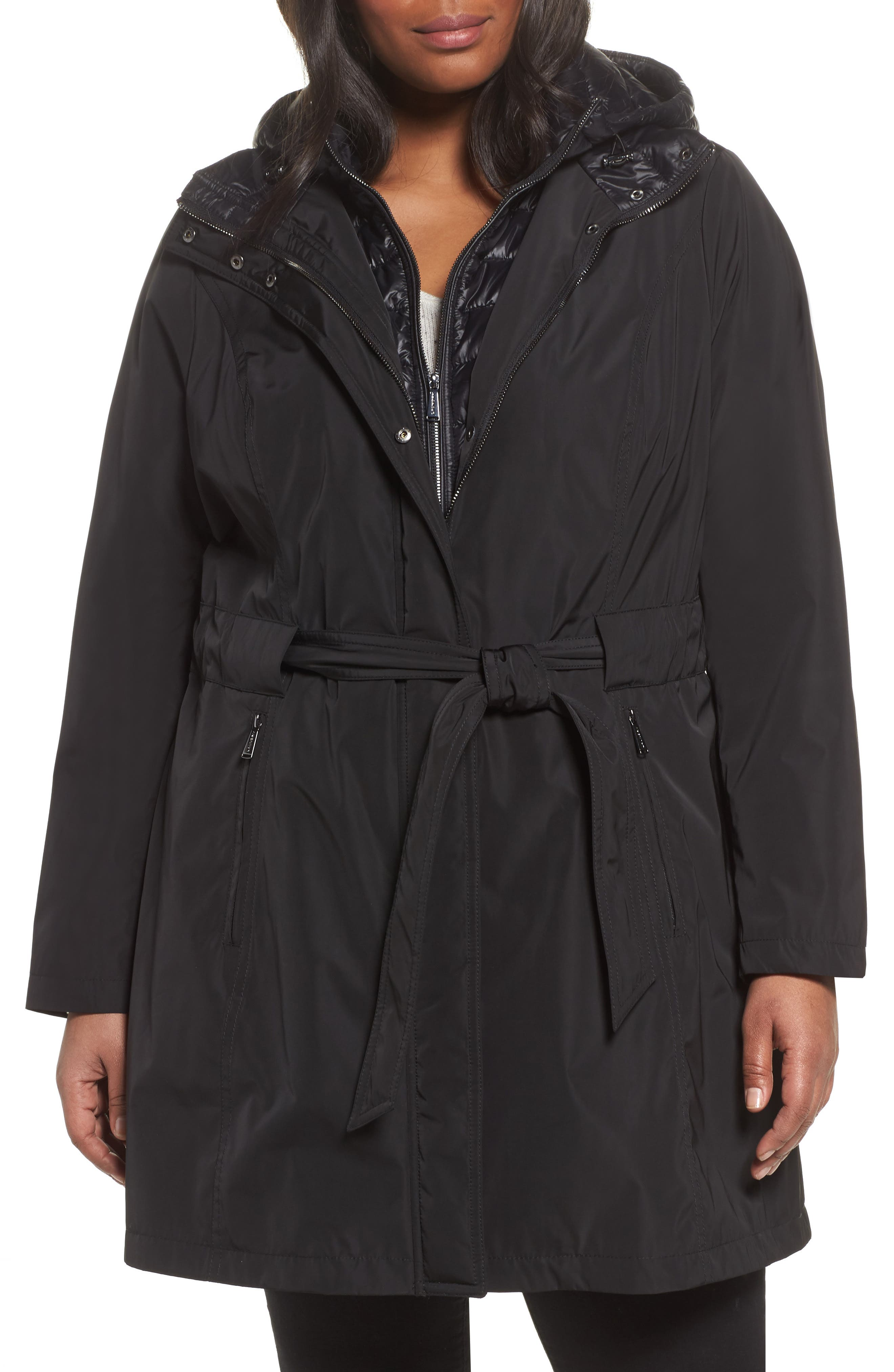Water Resistant Hooded Coat with Puffer Bib Inset,                         Main,                         color, Black
