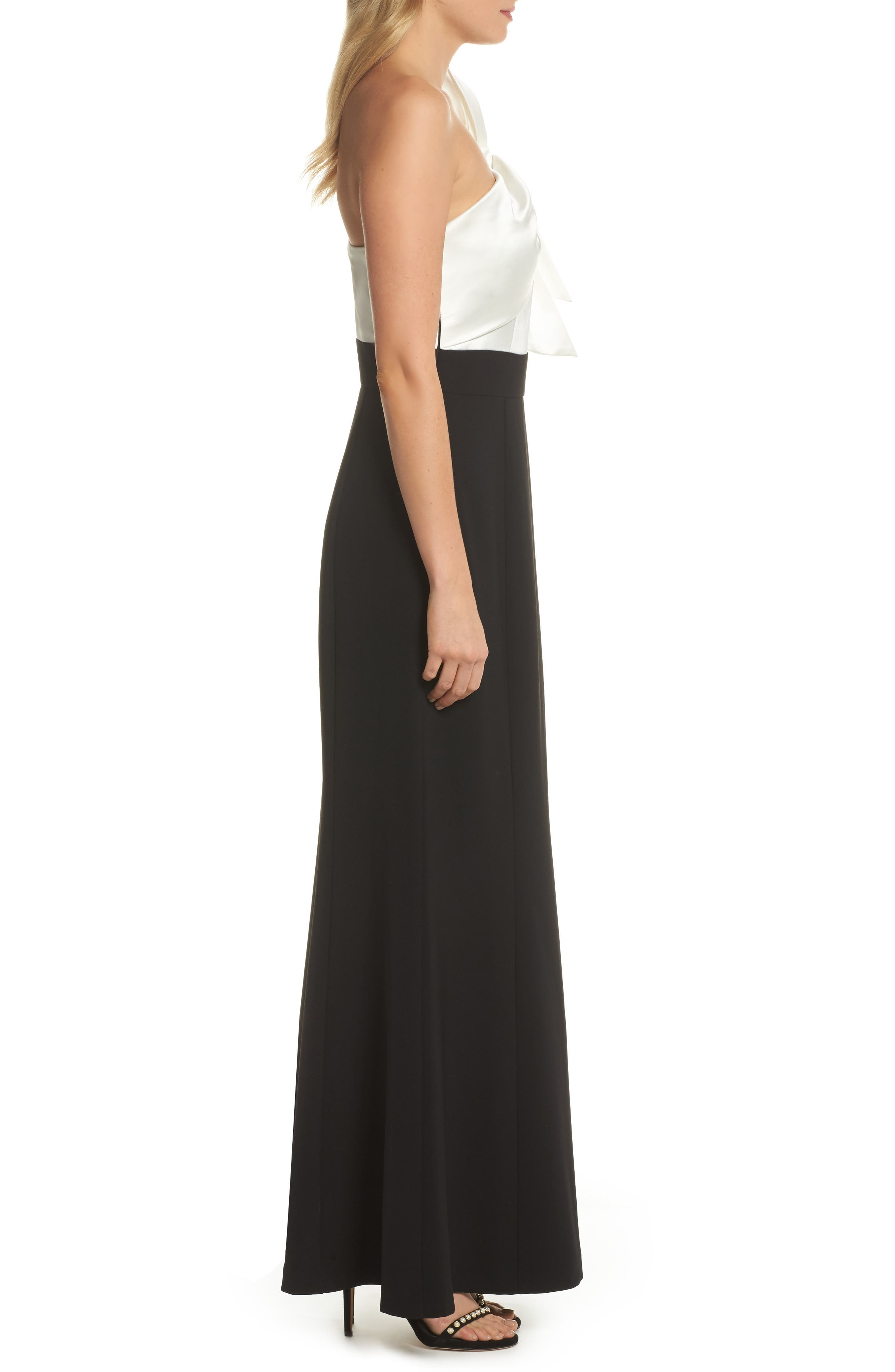 Bow One-Shoulder Gown,                             Alternate thumbnail 3, color,                             Black White