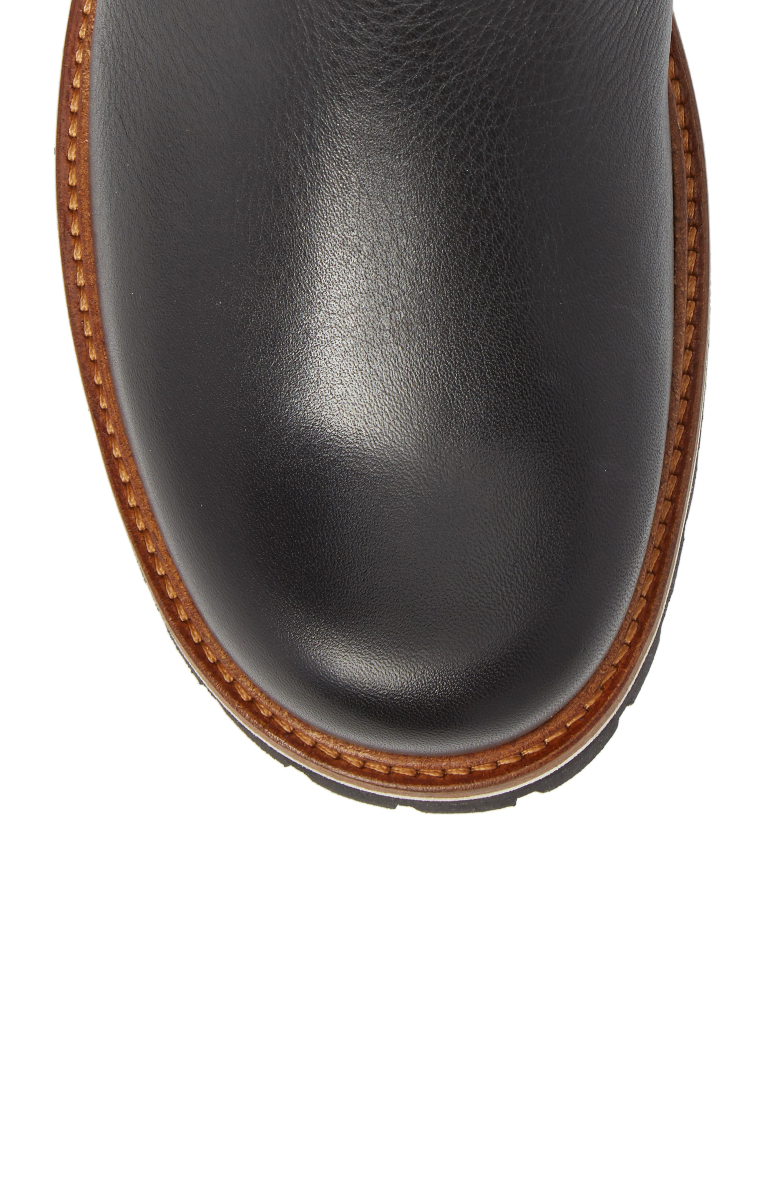 Snow Lodge Waterproof Gore-Tex<sup>®</sup> Genuine Shearling Lined Boot,                             Alternate thumbnail 5, color,                             Black Leather