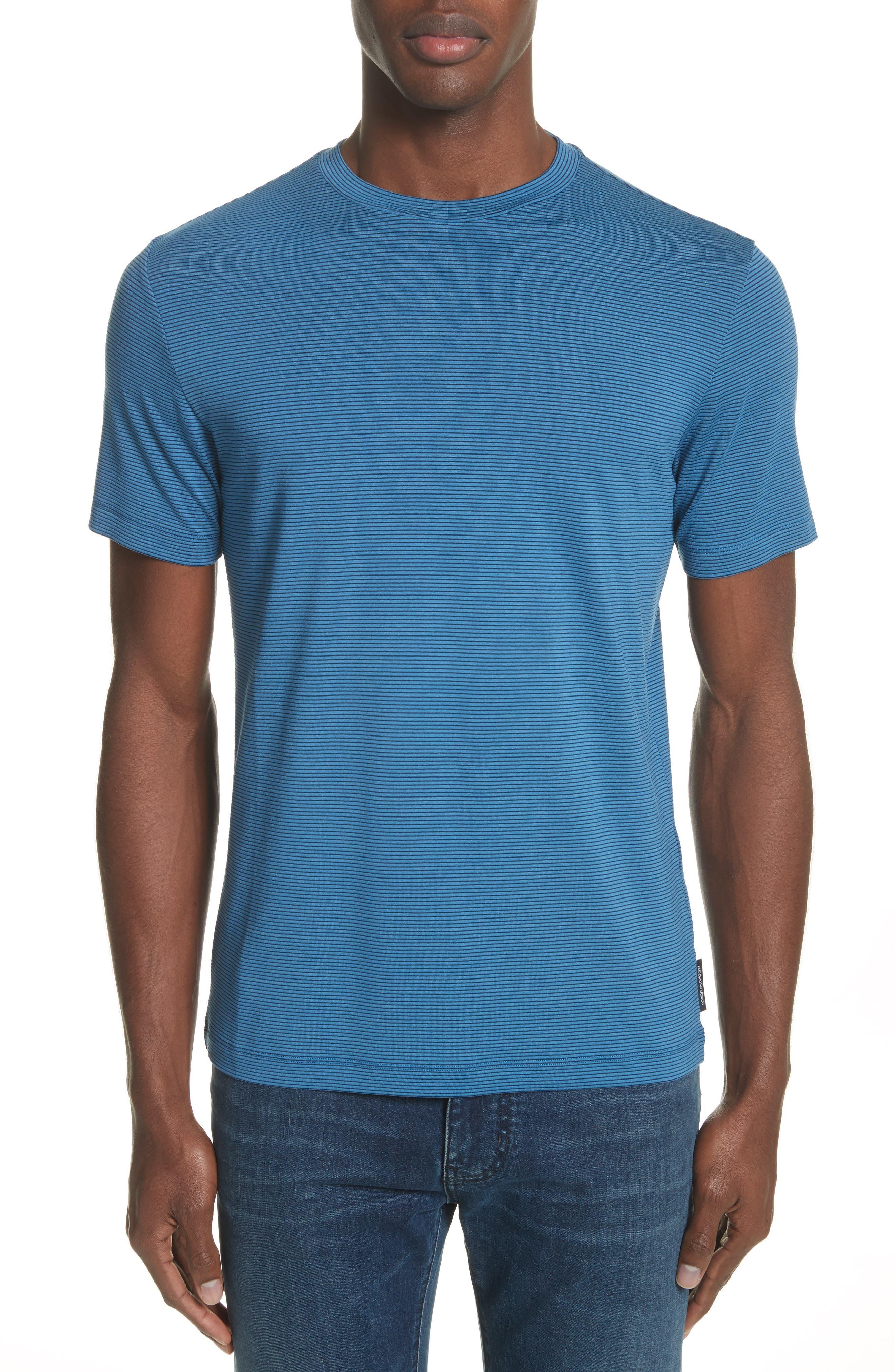 Slim Fit Stripe T-Shirt,                             Main thumbnail 1, color,                             Avio/ Blue