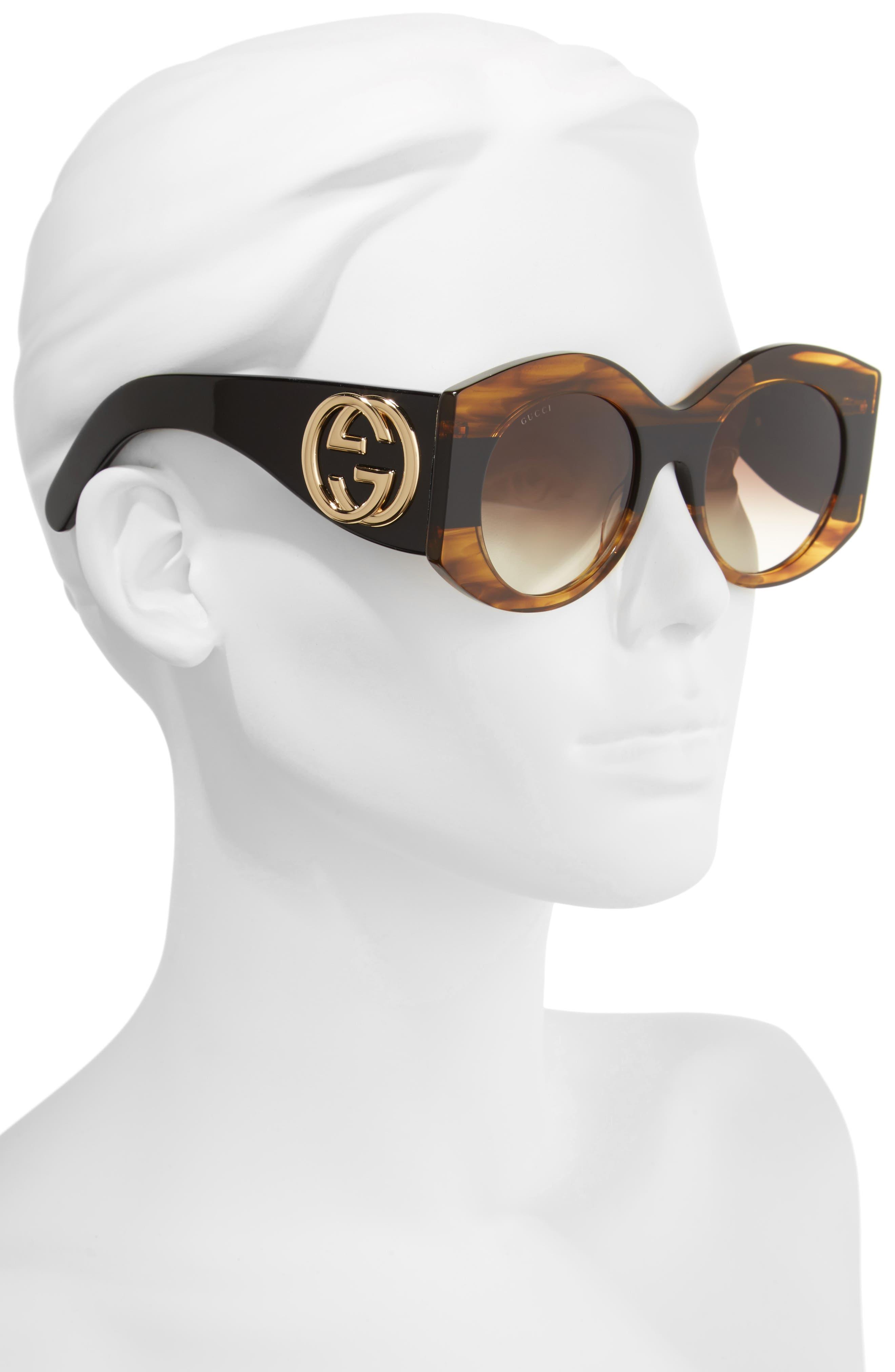 51mm Transparent Stripe Sunglasses,                             Alternate thumbnail 2, color,                             Havana