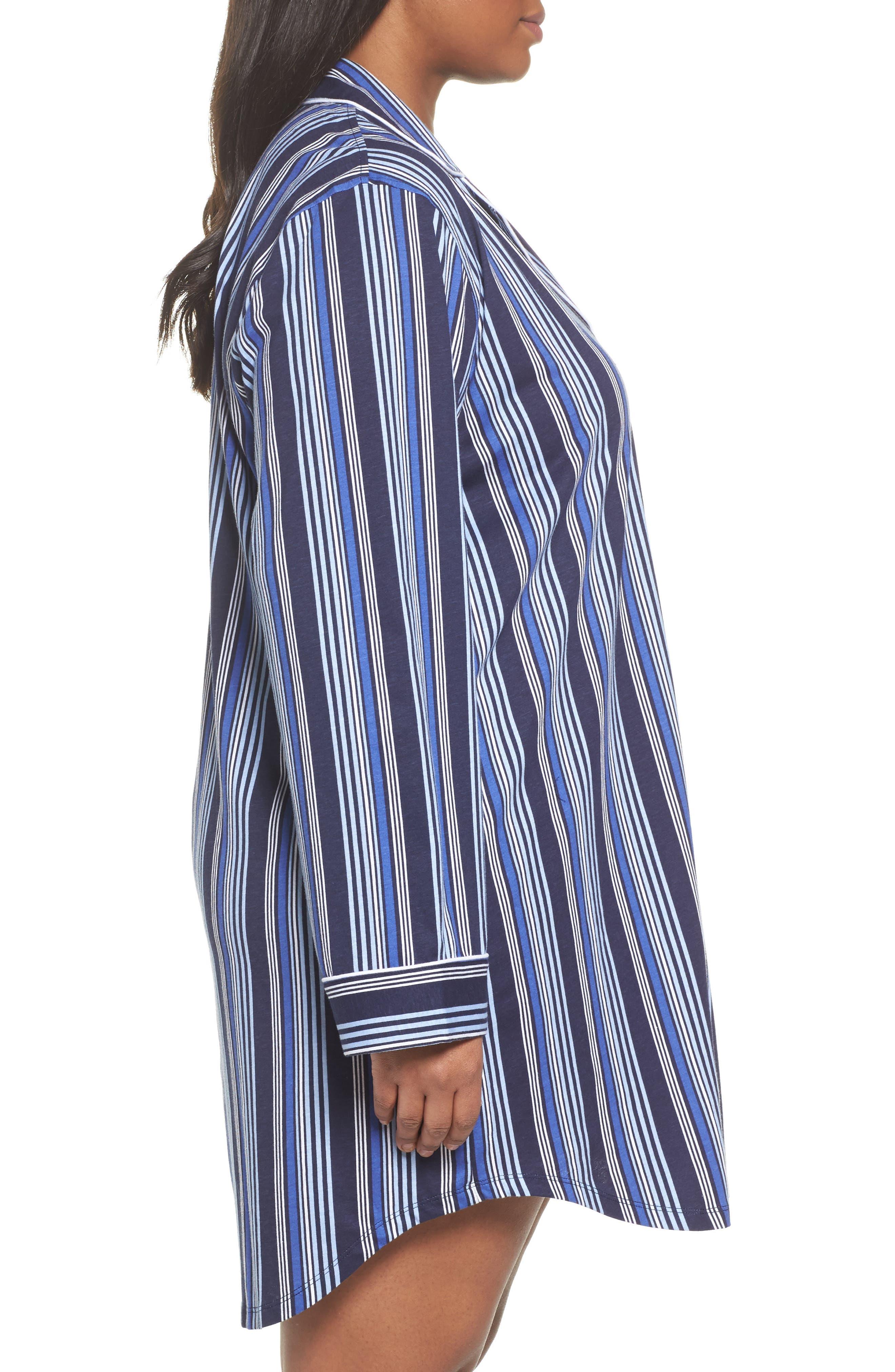 Stripe Night Shirt,                             Alternate thumbnail 3, color,                             Blue Stripe