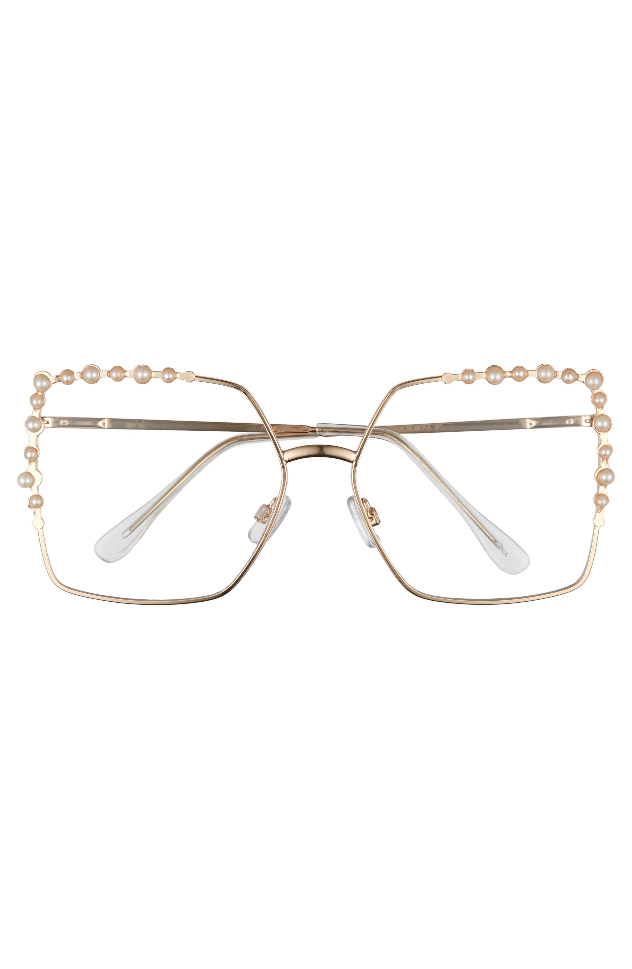63mm Imitation Pearl Square Fashion Glasses,                             Alternate thumbnail 3, color,                             Gold/ Pearl